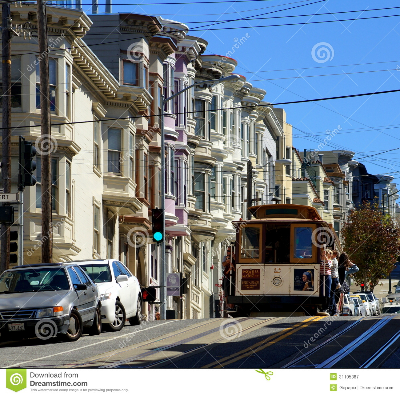 San Francisco Cable Car Redactionele Fotografie