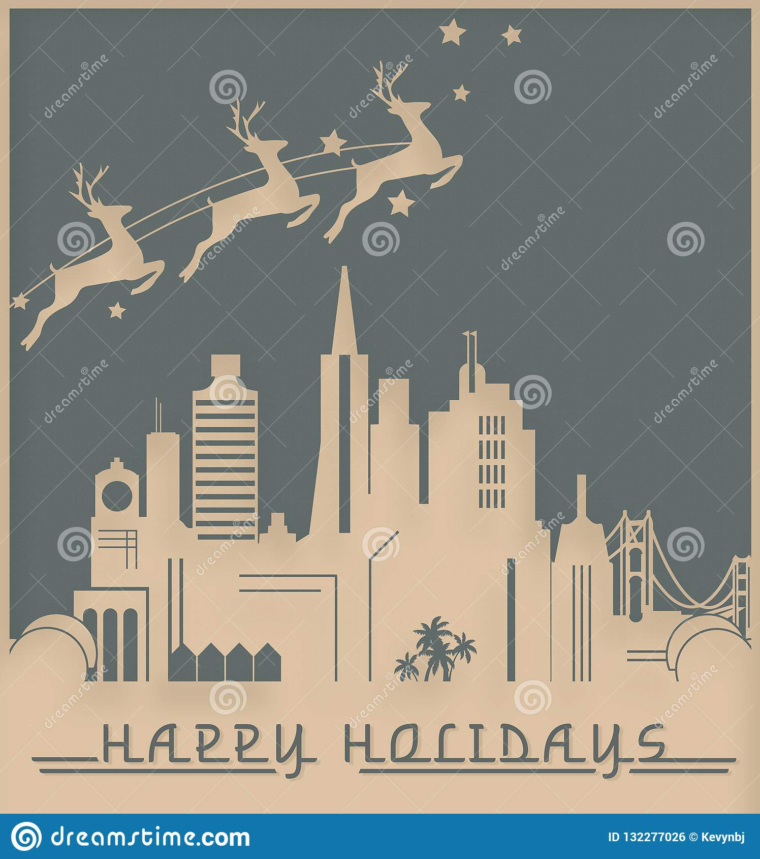 San Francisco Christmas Card Art Deco