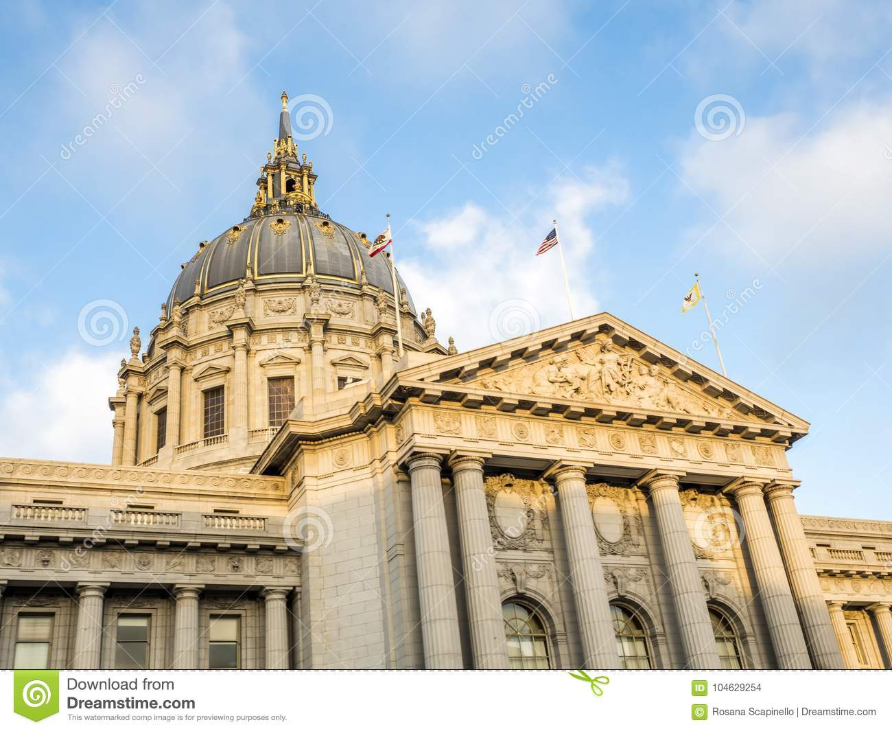 Download San Francisco City Hall Civic Center - San Francisco, Californië, CA Stock Foto - Afbeelding bestaande uit beroemd, francisco: 104629254
