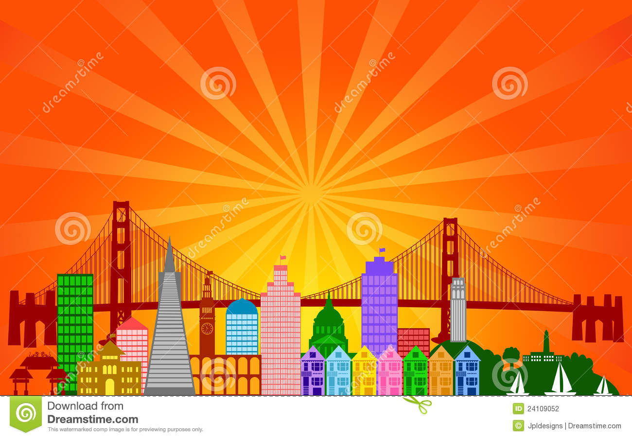 San Francisco City Skyline Panorama Stock Photography