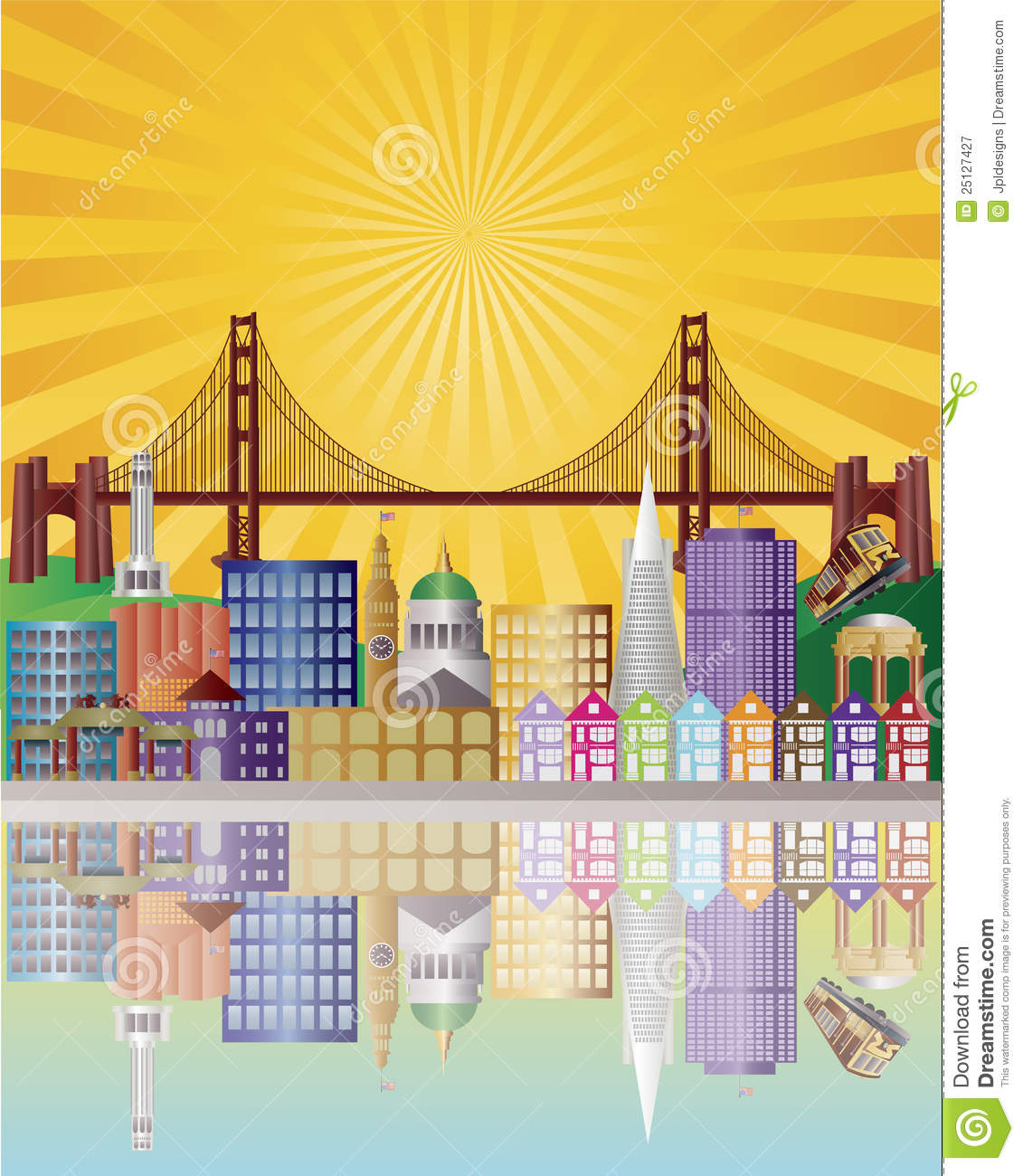 San Francisco City Skyline At Sunrise Illustration Stock