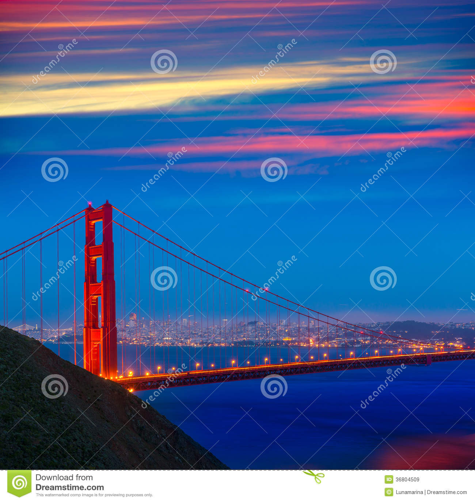 Golden Gate Bridge San Francisco California Sunset Picture: San Francisco Golden Gate Bridge Sunset California Royalty