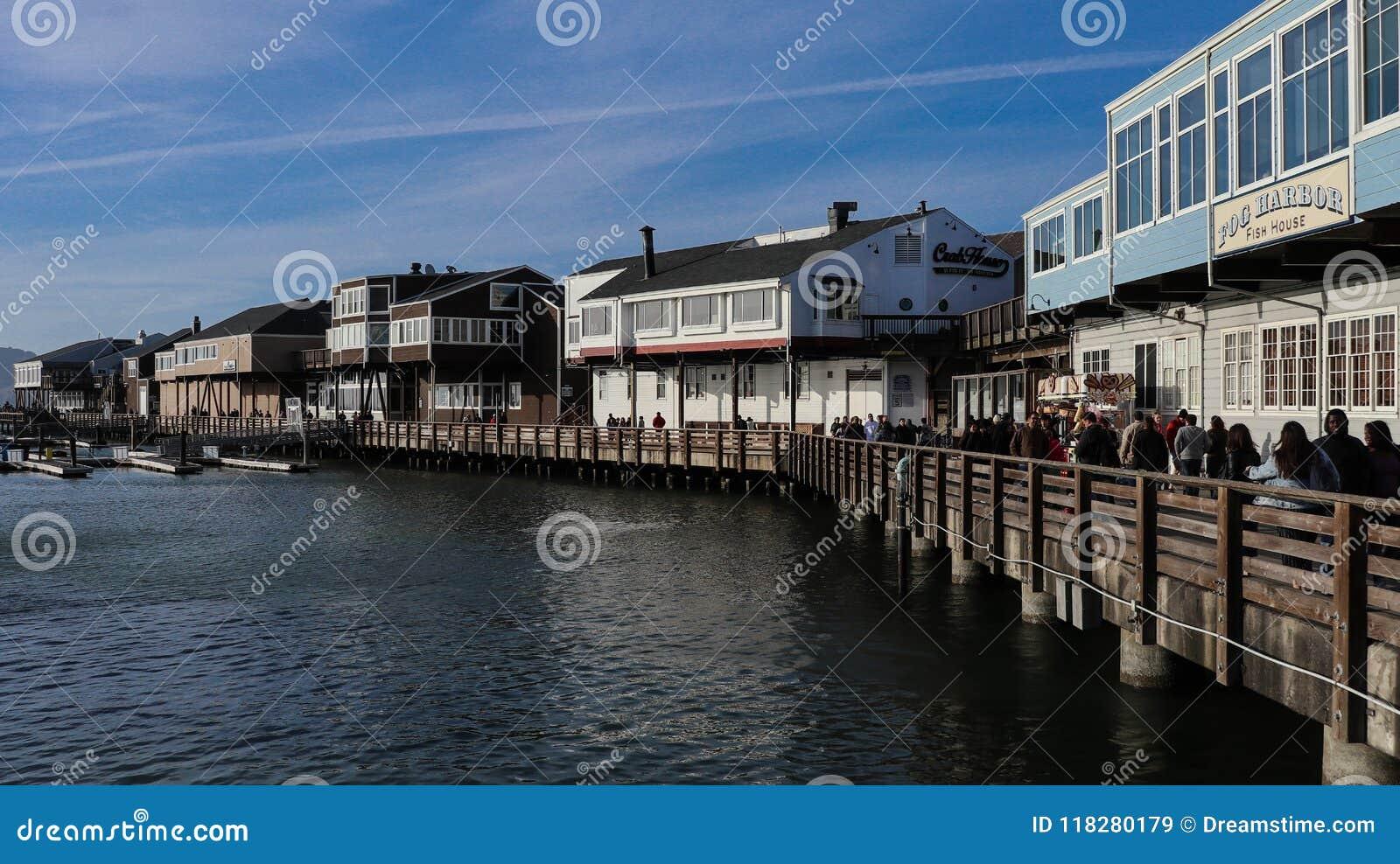 San Francisco harbor with pier
