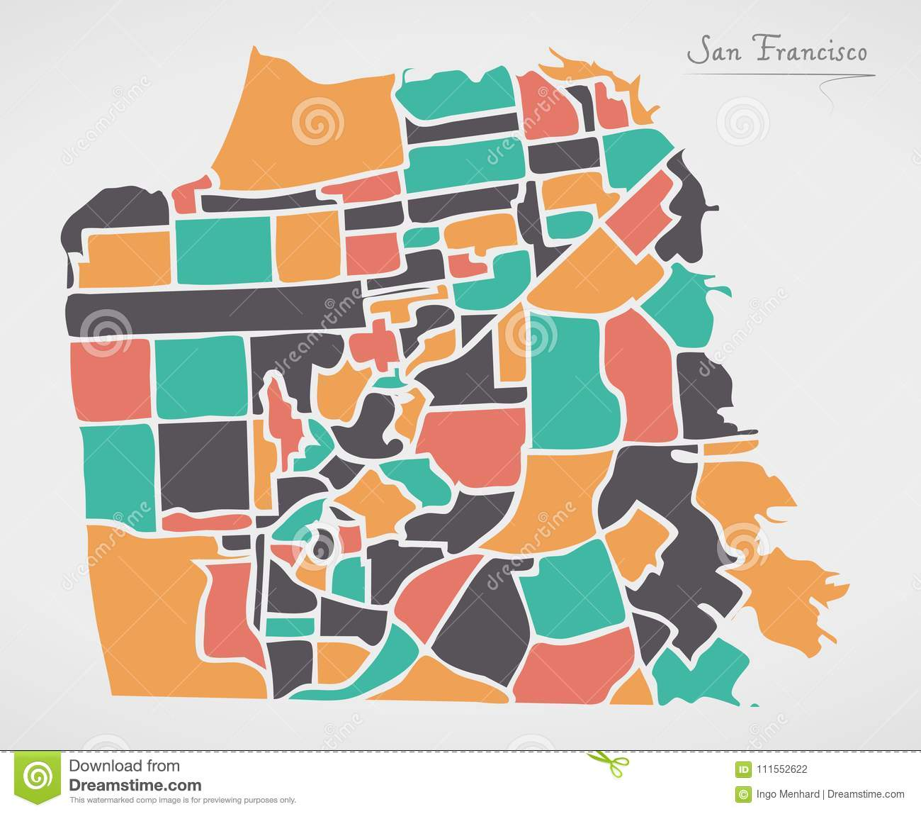 San Francisco Map With Neighborhoods And Modern Round Shapes Stock