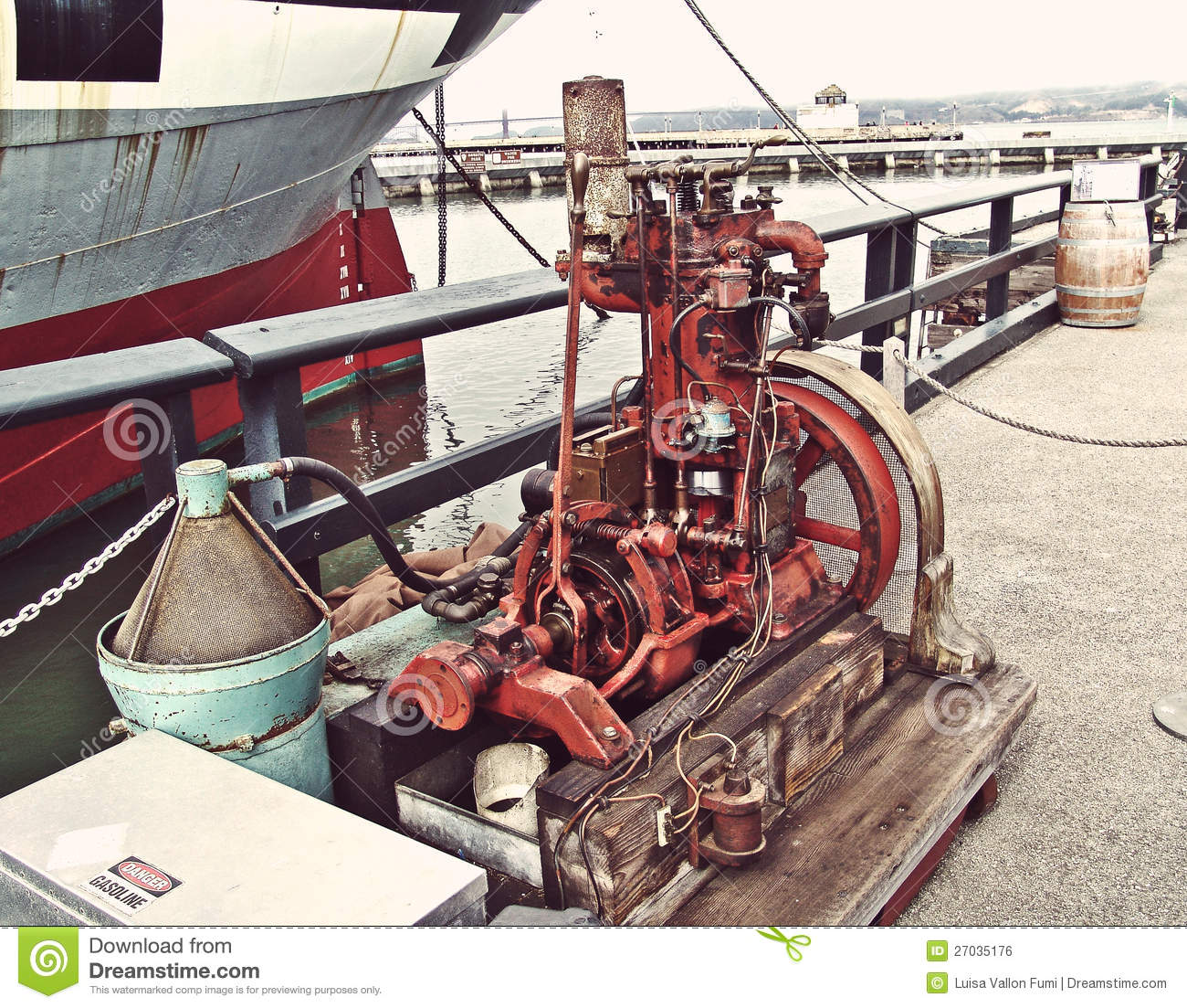 Gas Prices In California >> San Francisco, Old Gas Engine For Motor Boat Editorial Photo - Image: 27035176