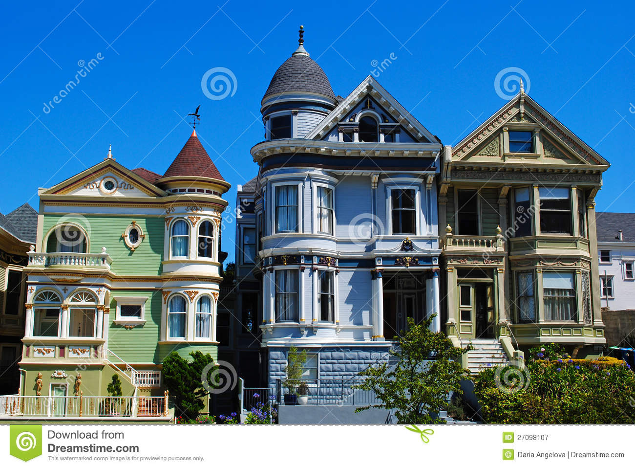San francisco painted ladies royalty free stock for Houses in san francisco