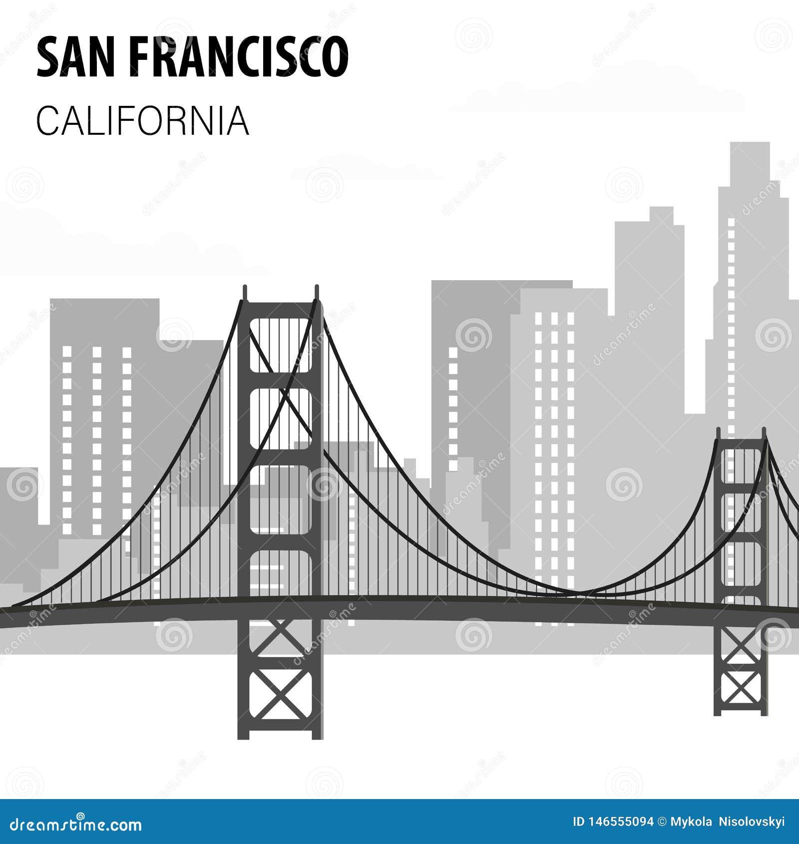 San Francisco pejzażu miejskiego monochromu ilustracja