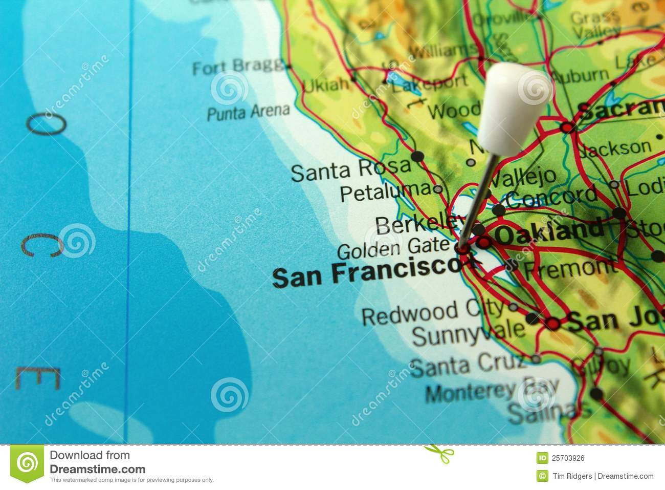 san francisco pin map stock photo image of cartography. Black Bedroom Furniture Sets. Home Design Ideas