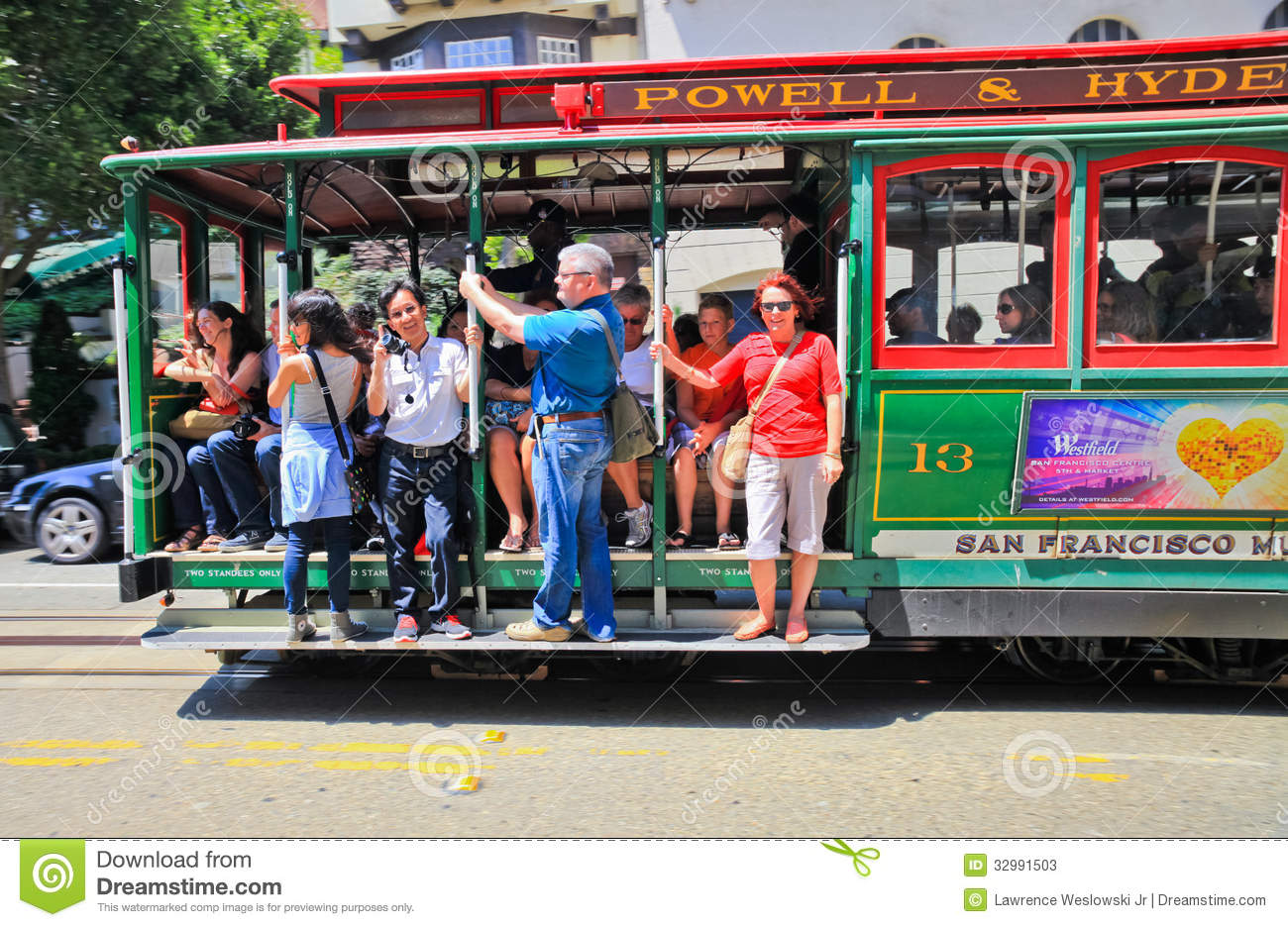 San Francisco Powell Hyde Cable Car Passengers Editorial Stock