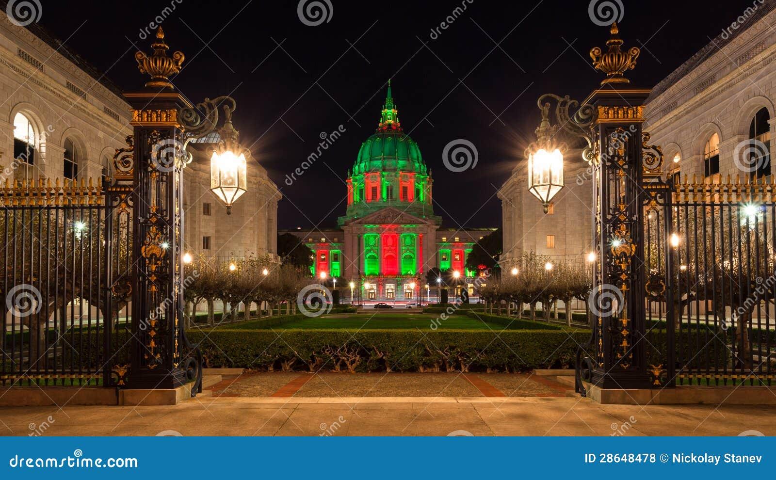San Francisco Rathaus Während Des Weihnachten Stockfoto - Bild von ...