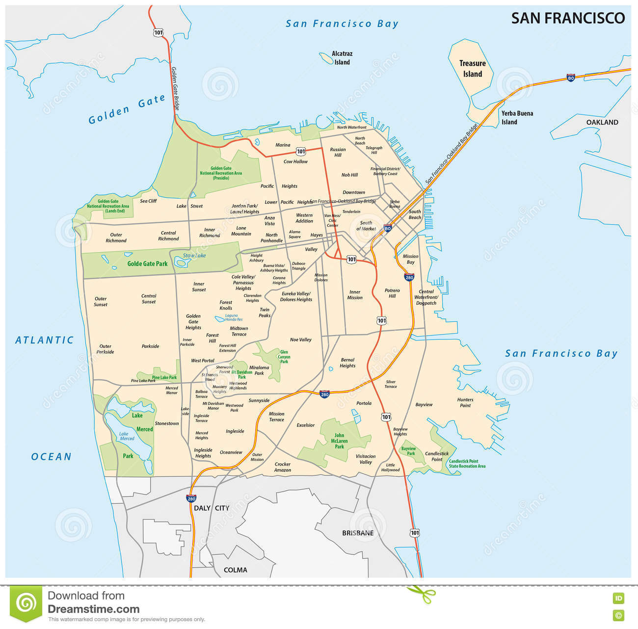 San Francisco Road And Neighborhood Map Stock Vector Illustration