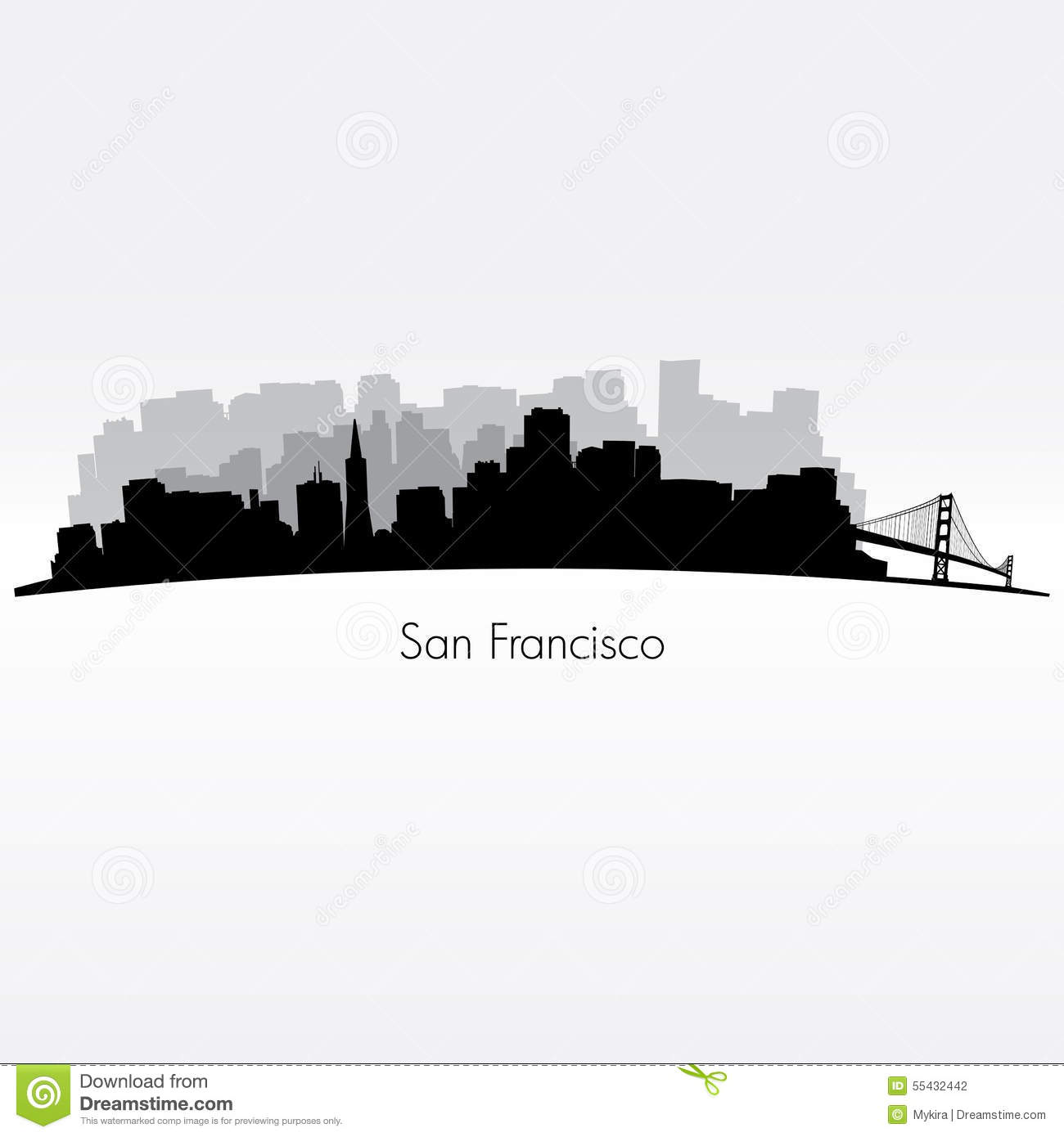 San Francisco Silhouette Skyline Stock Vector Image - San francisco map vector free download