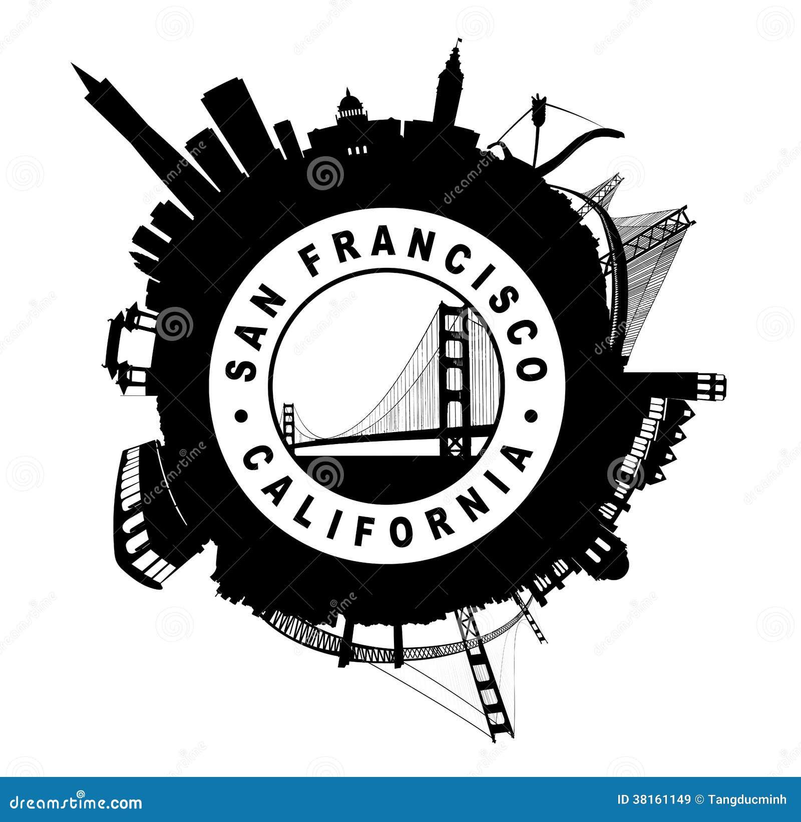The San Francisco Skyline Circular Seal Symbol Sil Stock