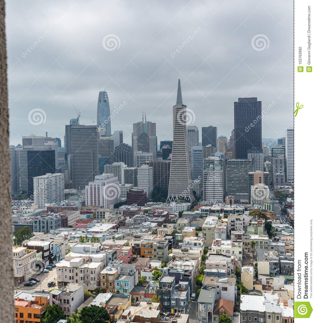 San Francisco Skyline Framed By Coit Tower Architecture Stock Photo