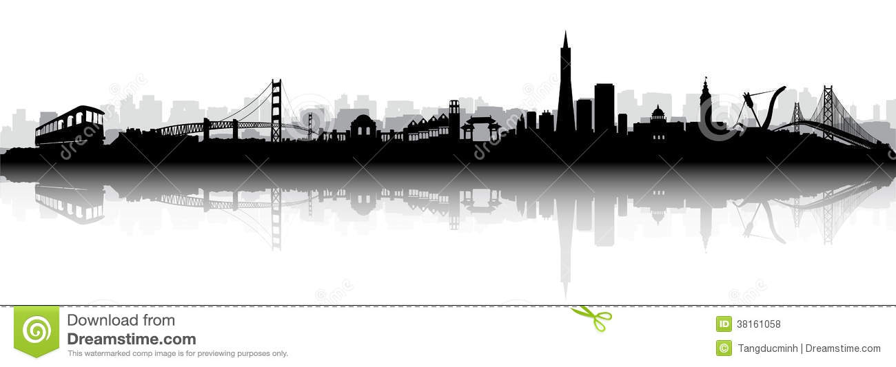 San Francisco Skyline Silhouette Vector Stock Vector Image - San francisco map vector free download