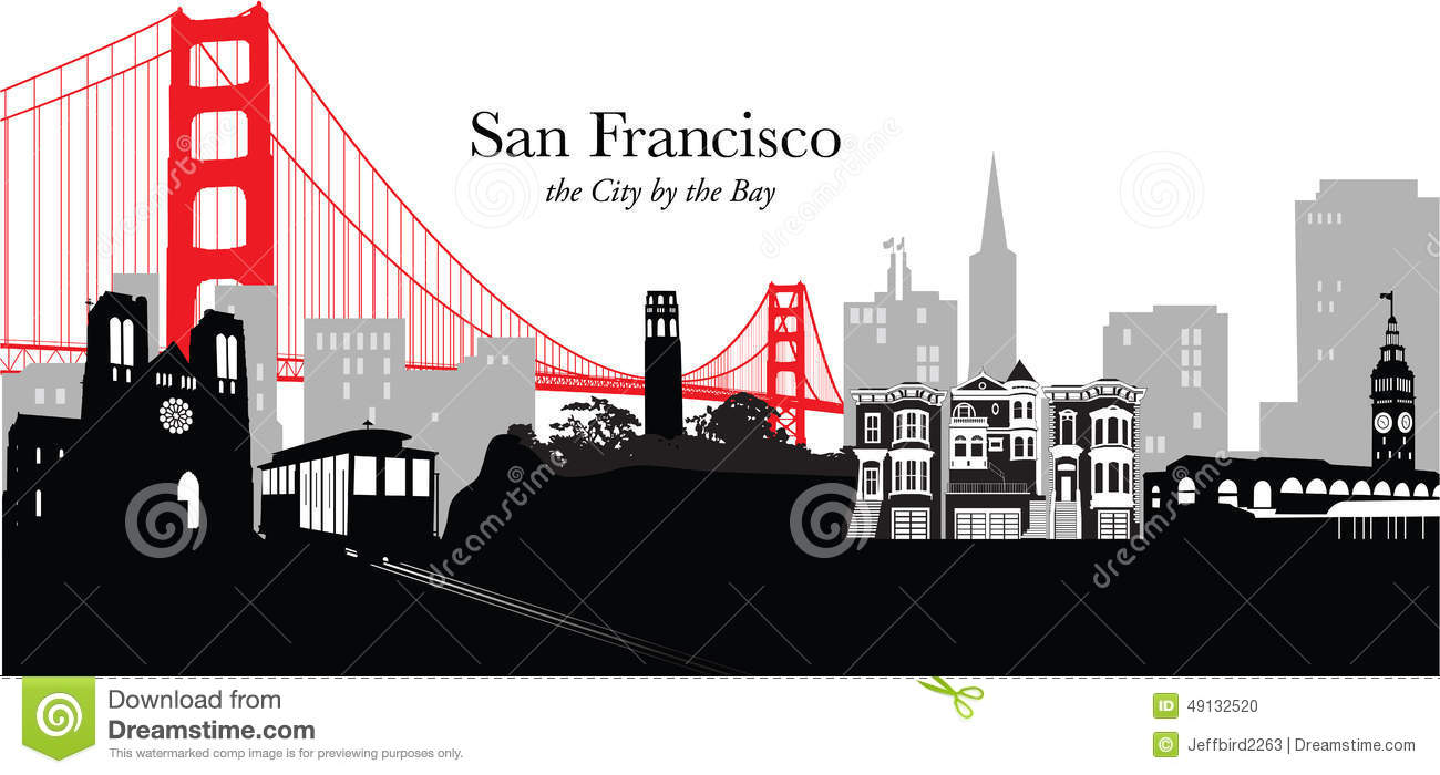 Vector Illustration Of The San Francisco Skylinecityscape With Pop
