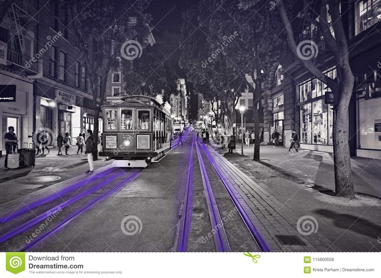 San francisco street car at night black and white with purple accent