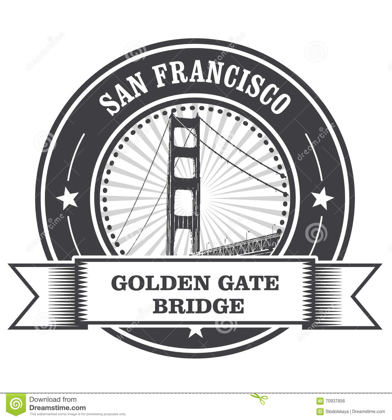 San Francisco Symbol Golden Gate Bridge Stock Vector