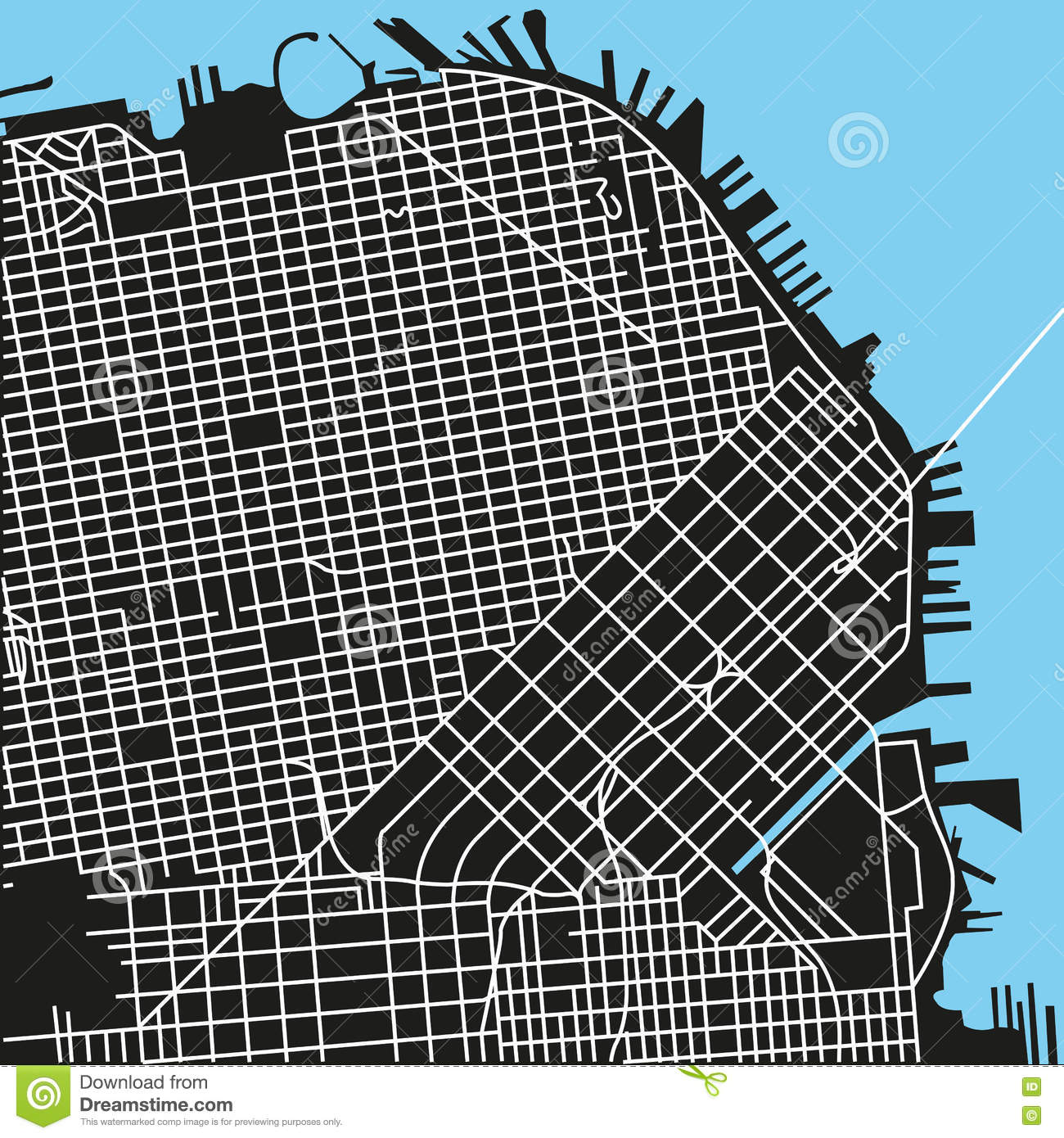San Francisco Vector Map Stock Vector Image Of Road - San francisco map vector free download