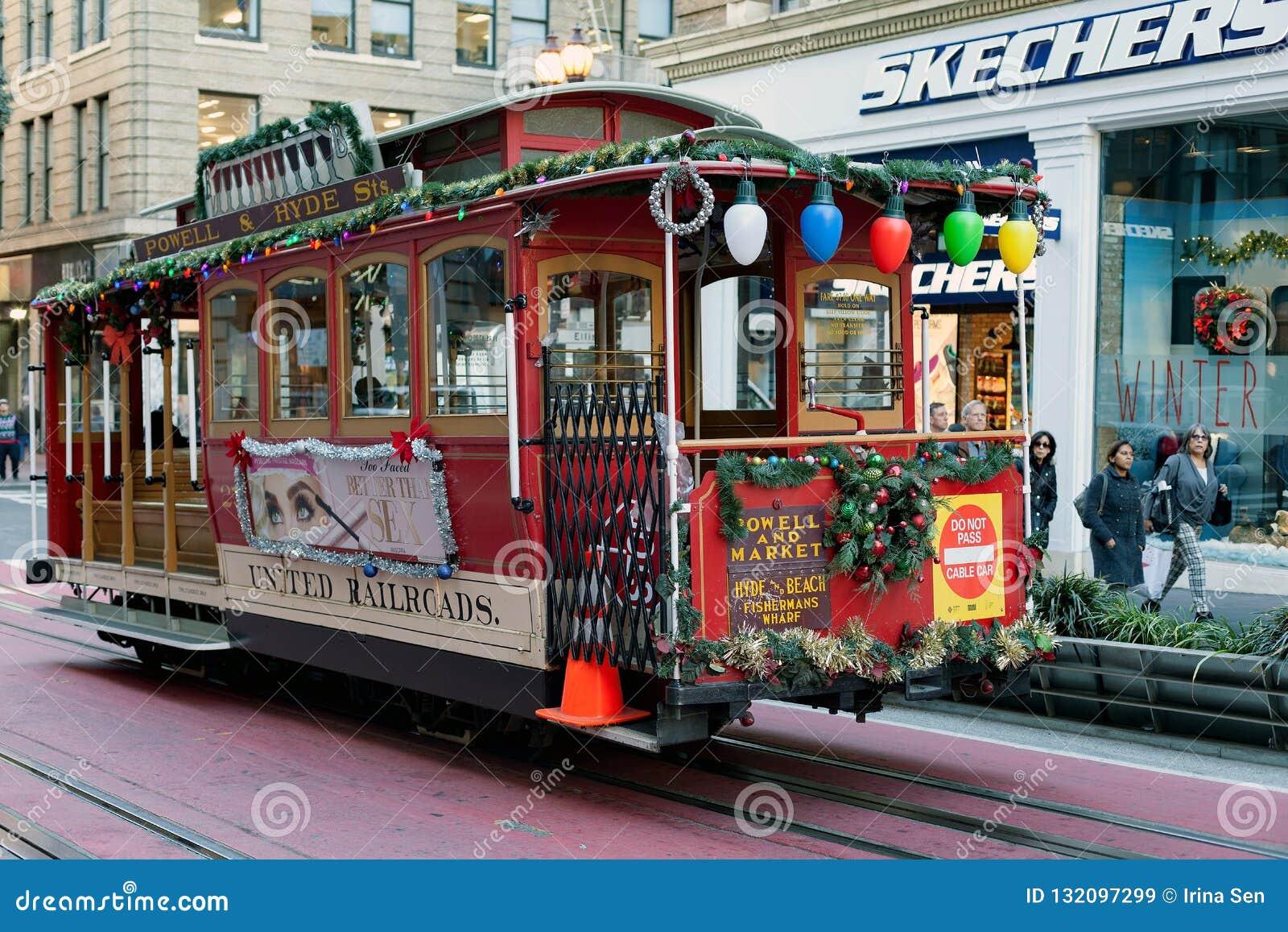 San Francisco, Verenigde Staten - is de Kabelwagentram powell-Hyde beroemde toeristische attractie