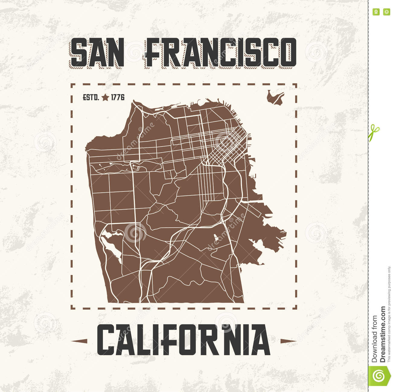 San Francisco Vintage Tshirt Graphic Design With City Map Stock - San francisco map vector free download