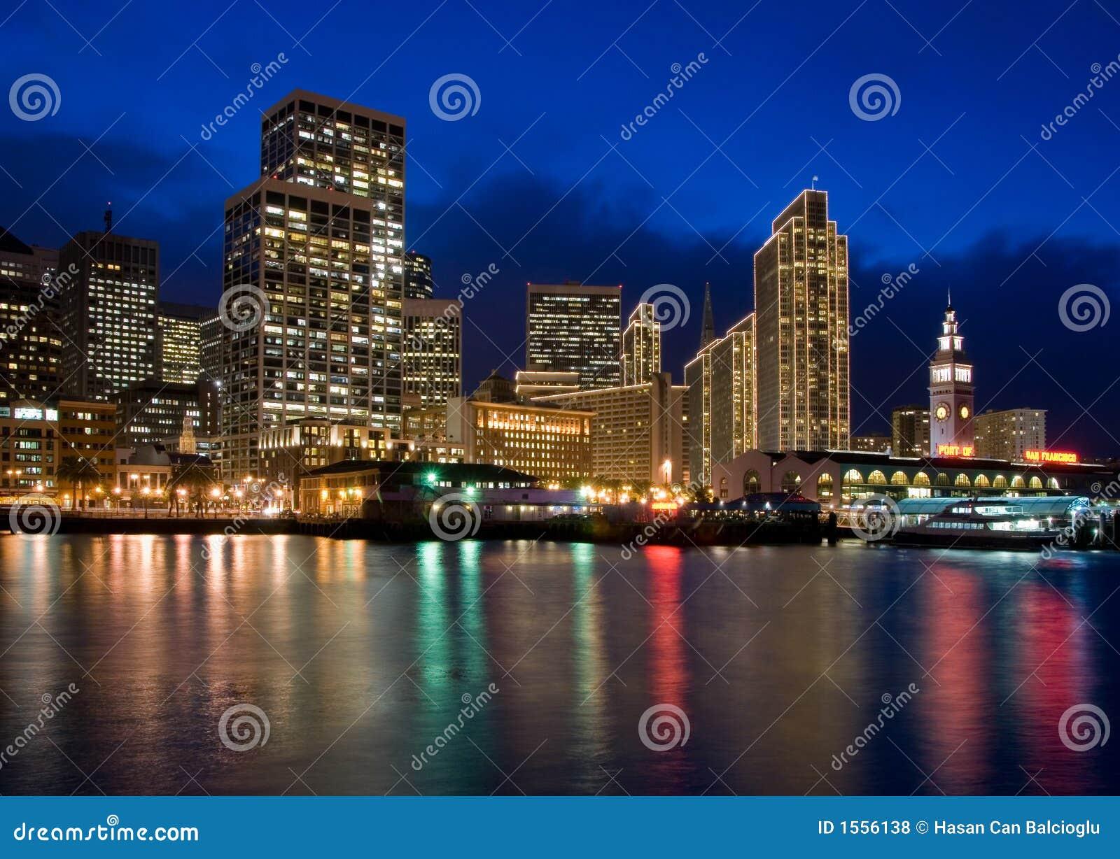 San Francisco Waterfront Night Scene At Christmas