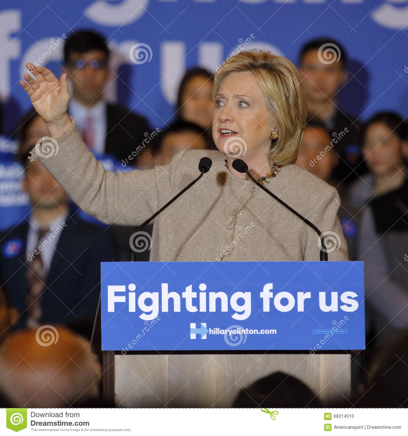 SAN GABRIEL, LA, CA - JANUARY 7, 2016, Democratic Presidential candidate Hillary Clinton speaks to Asian American and Pacific Isla