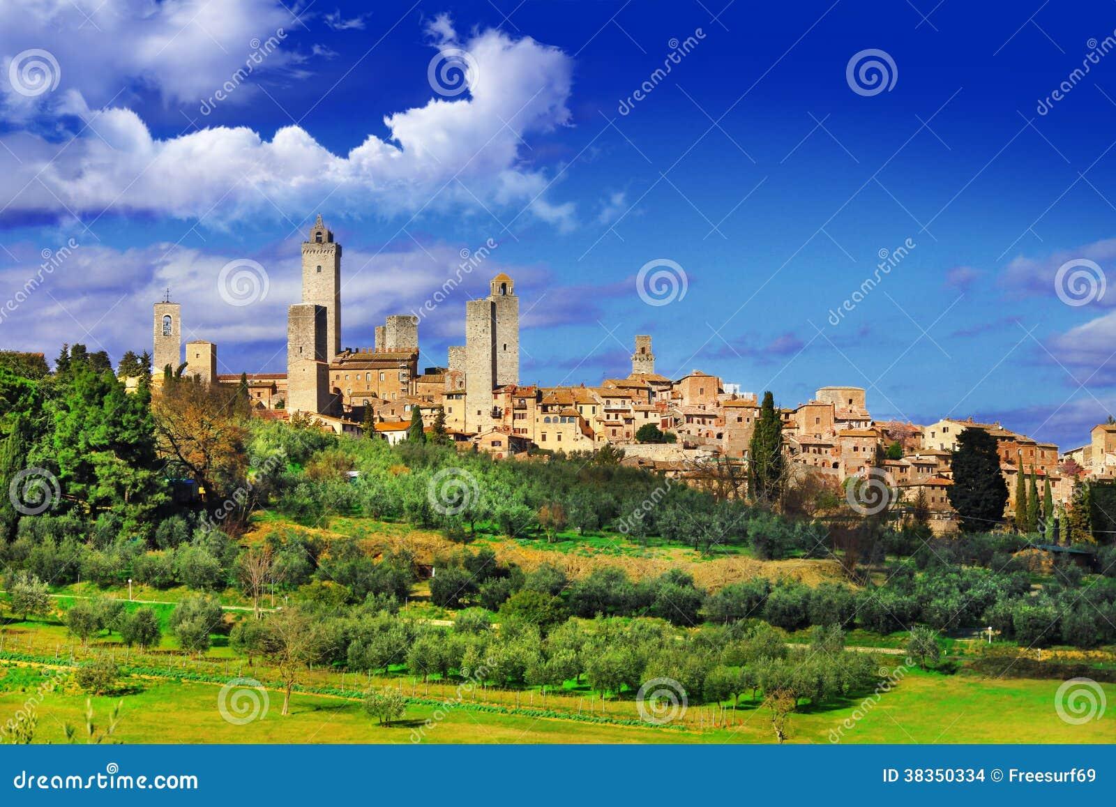 Download San Gimignano stock photo. Image of fortress, siena, italian - 38350334