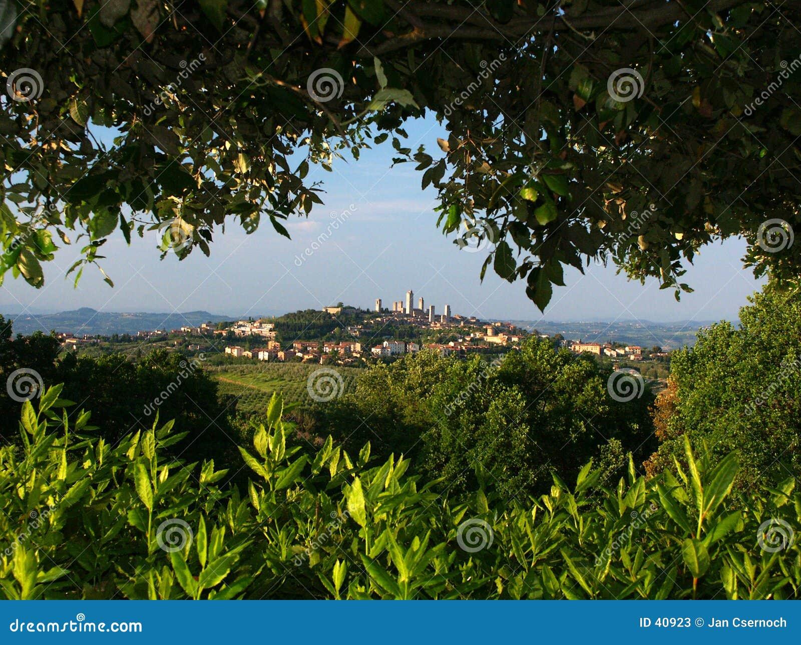 San Gimignano von oposing Hügel