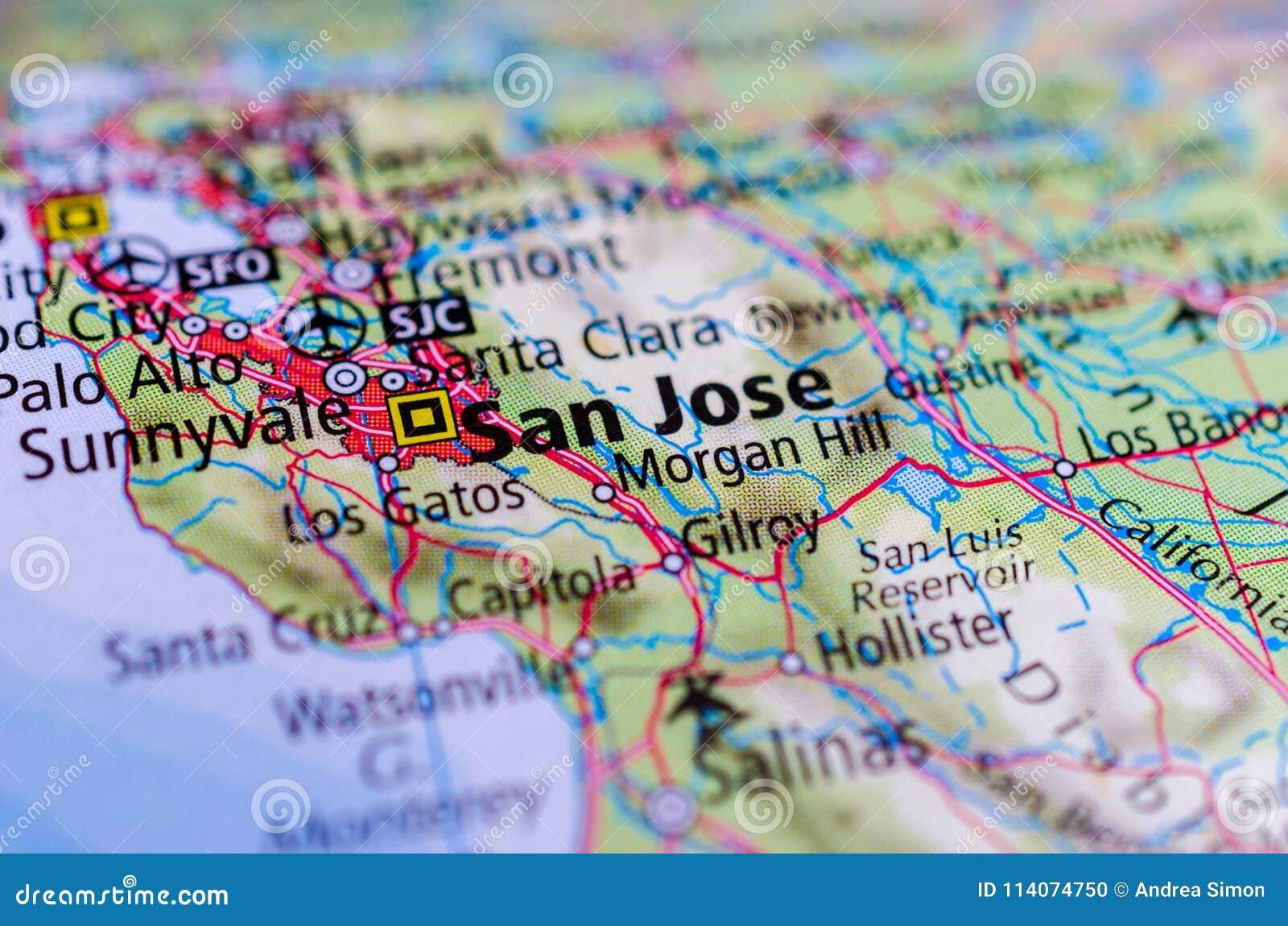 Silicon Valley Karte.San Jose Kalifornien Auf Karte Stockfoto Bild Von Mitte