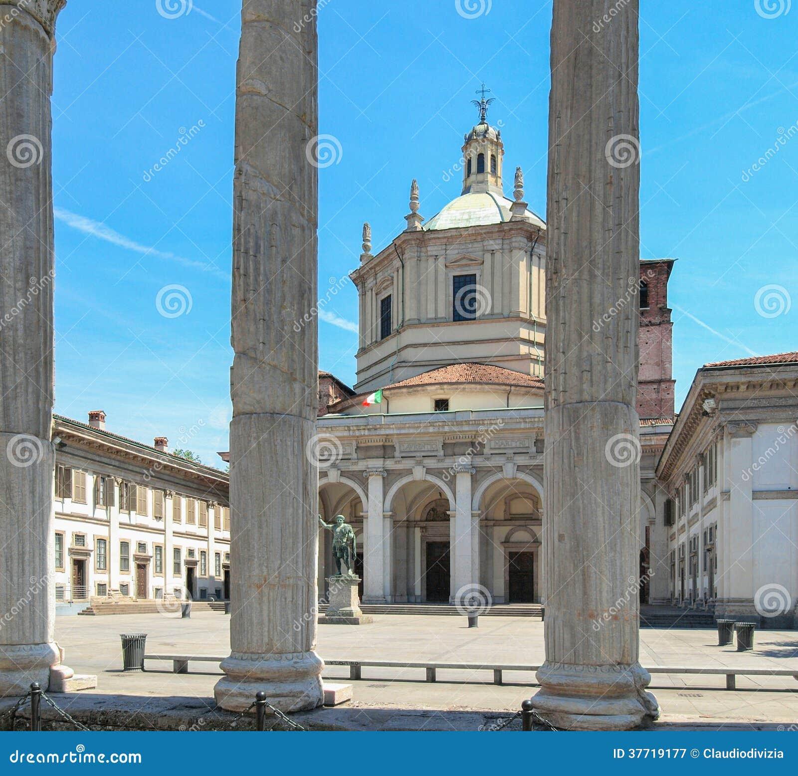 San Lorenzo church, Milan stock image. Image of italia ...
