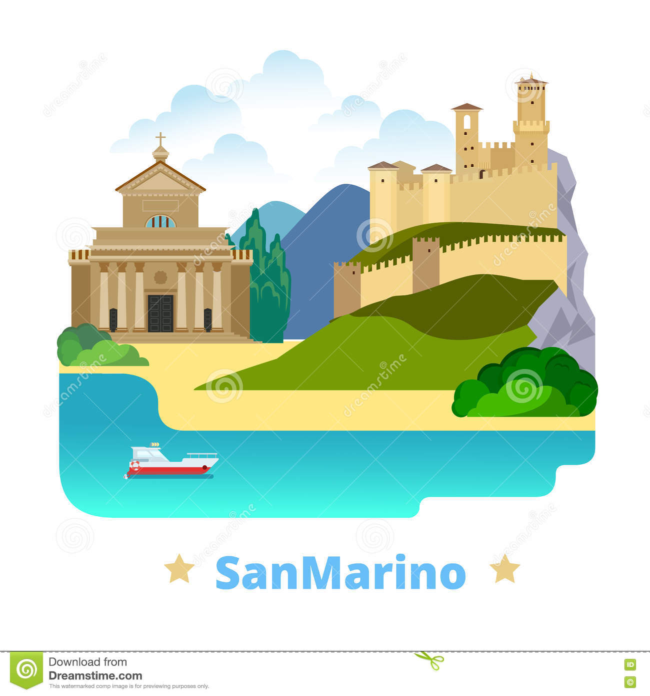 San Marino Country Design Template Flat Cartoon St Stock Vector ...