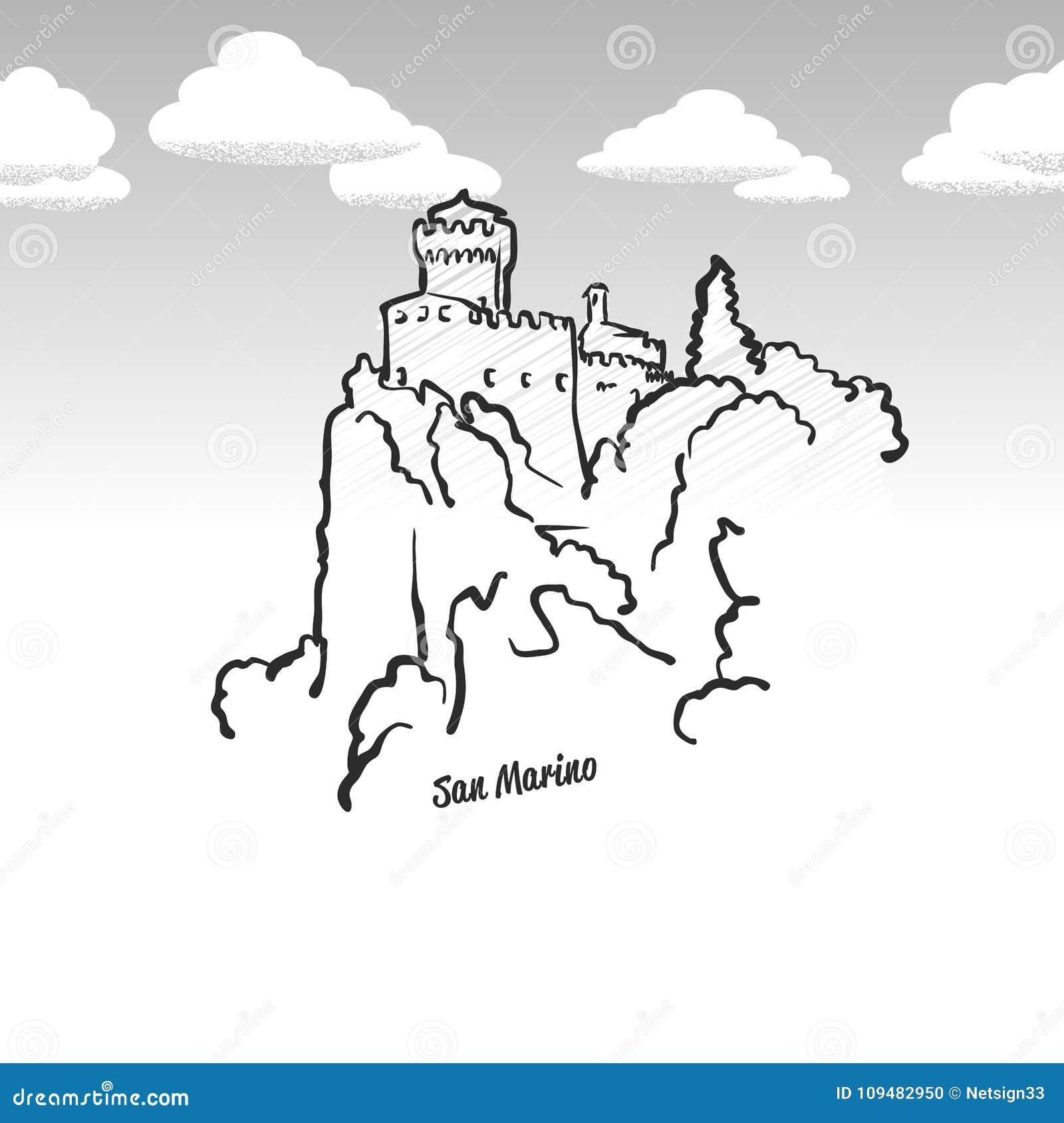 San Marino Famous Landmark Sketch Stock Vector Illustration Of