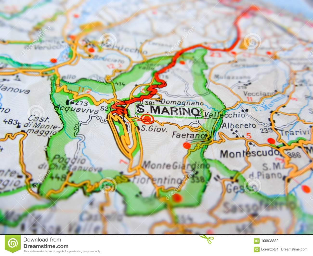 San Marino Over A Road Map Italy Stock Image Image Of Europe