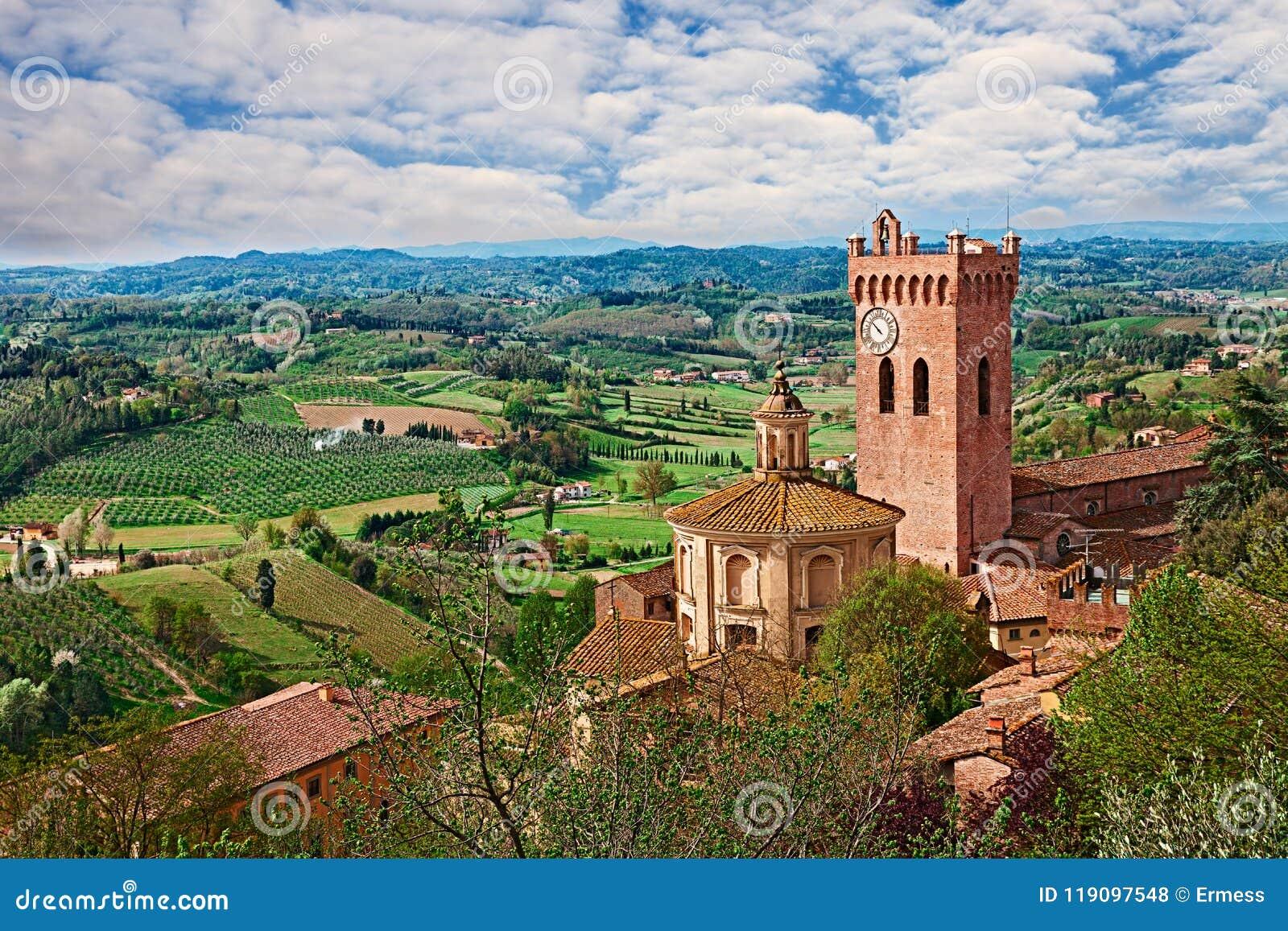 San Miniato Pisa, Tuscany, Italien: landskap av bygden