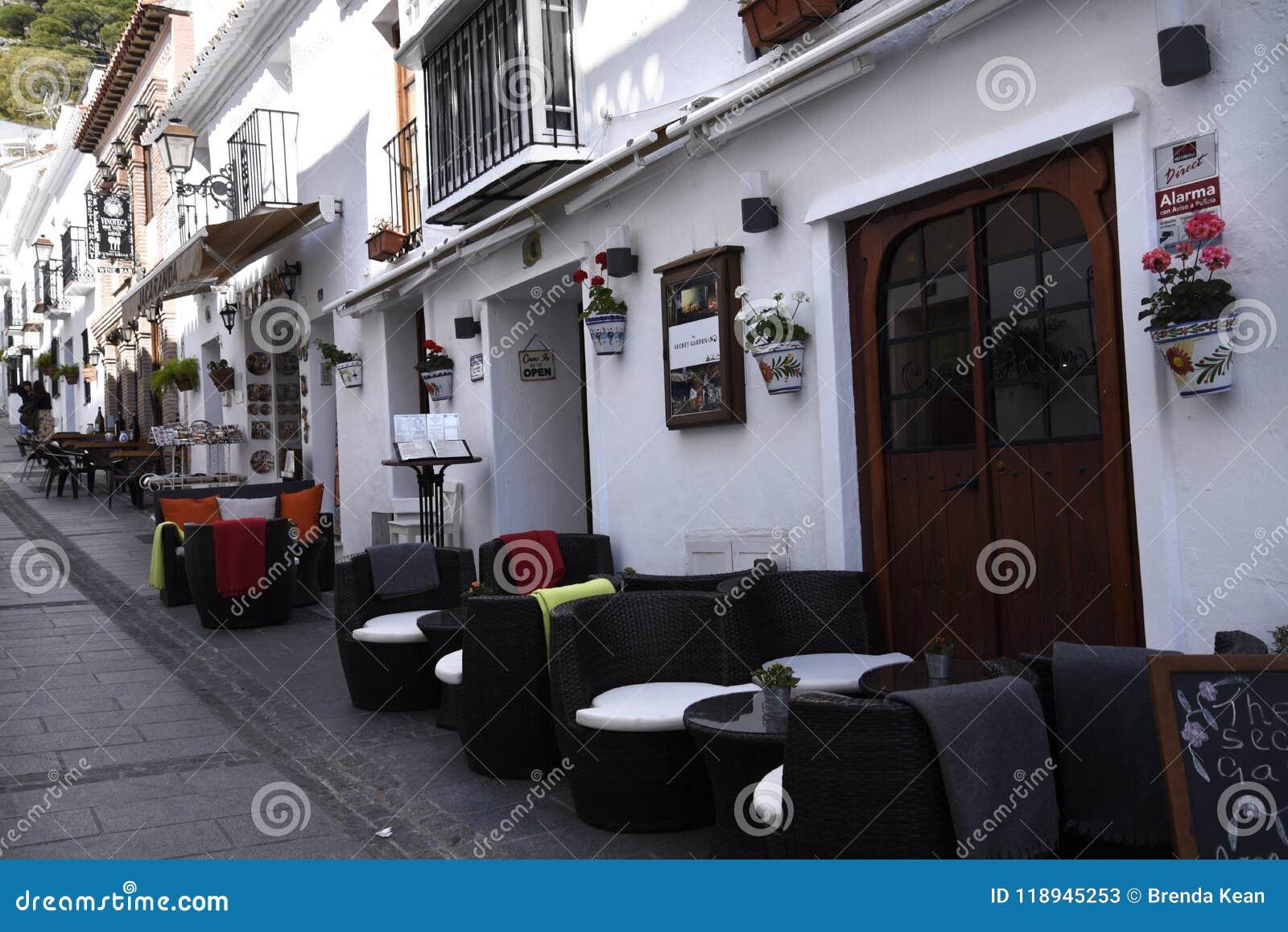 San Sebastian Street In Mijas In The Mountains Above The
