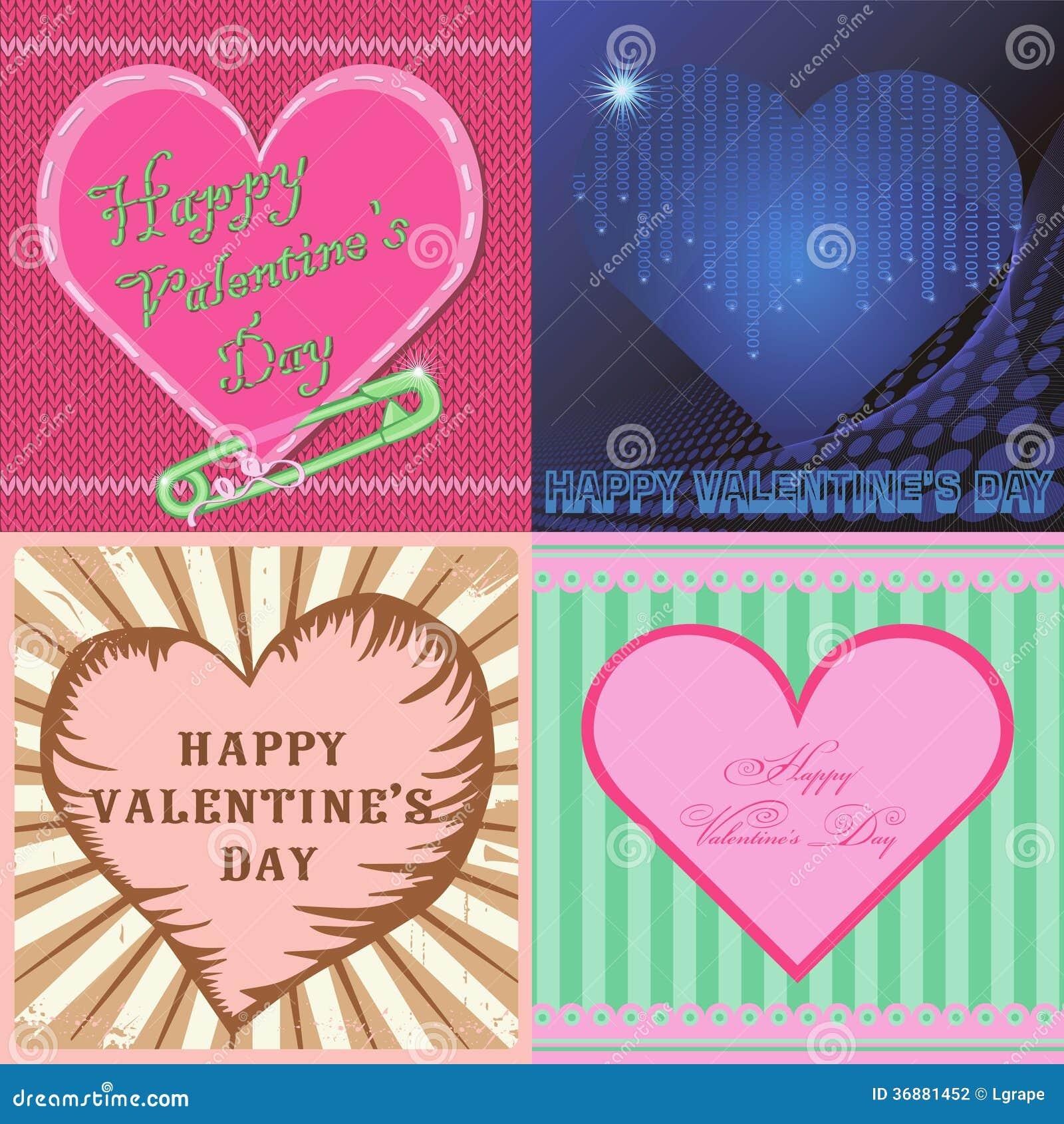 Download San Valentino Felice Delle Carte. Stile Differente. Illustrazione Vettoriale - Illustrazione di cerchio, treccia: 36881452