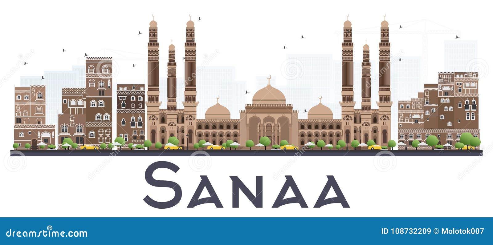 Sanaa Yemen City Skyline avec des bâtiments de couleur d isolement sur le blanc