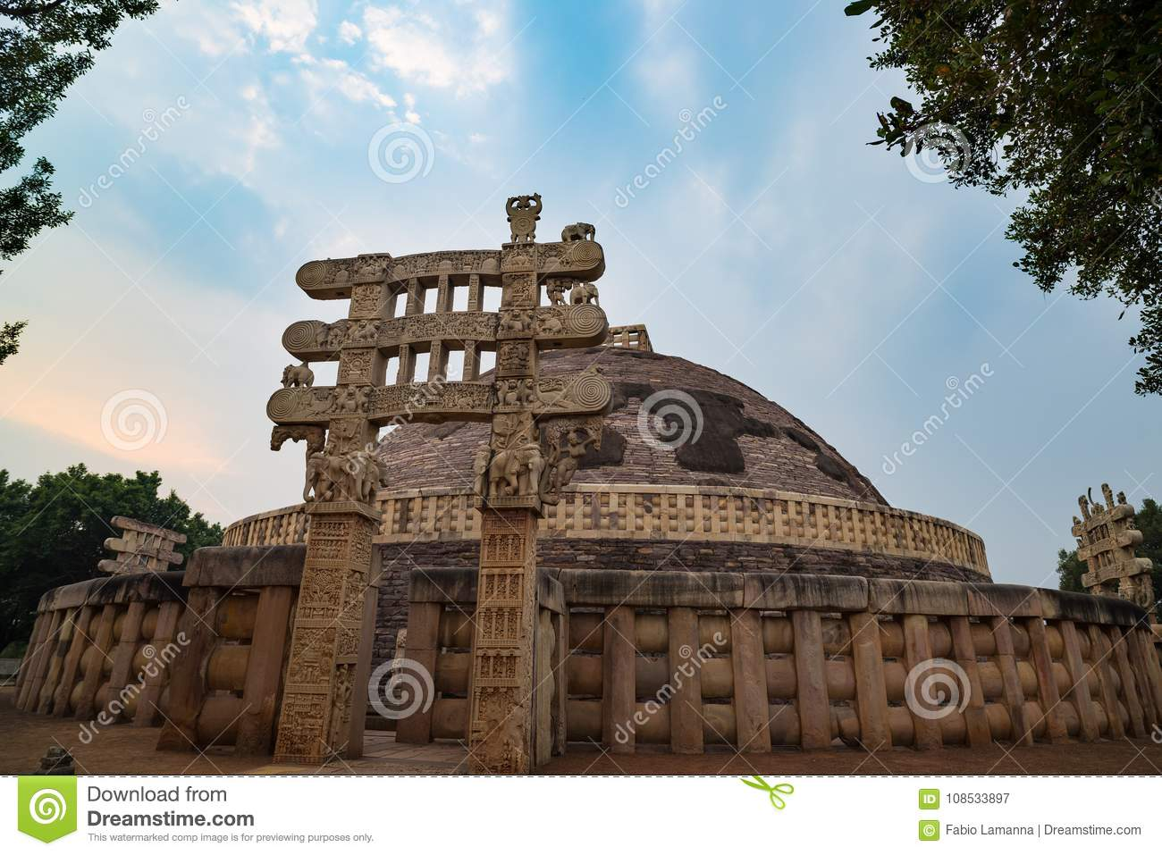 Sanchi Stupa, Ancient buddhist building, religion mystery, carved stone. Travel destination in Madhya Pradesh, India.