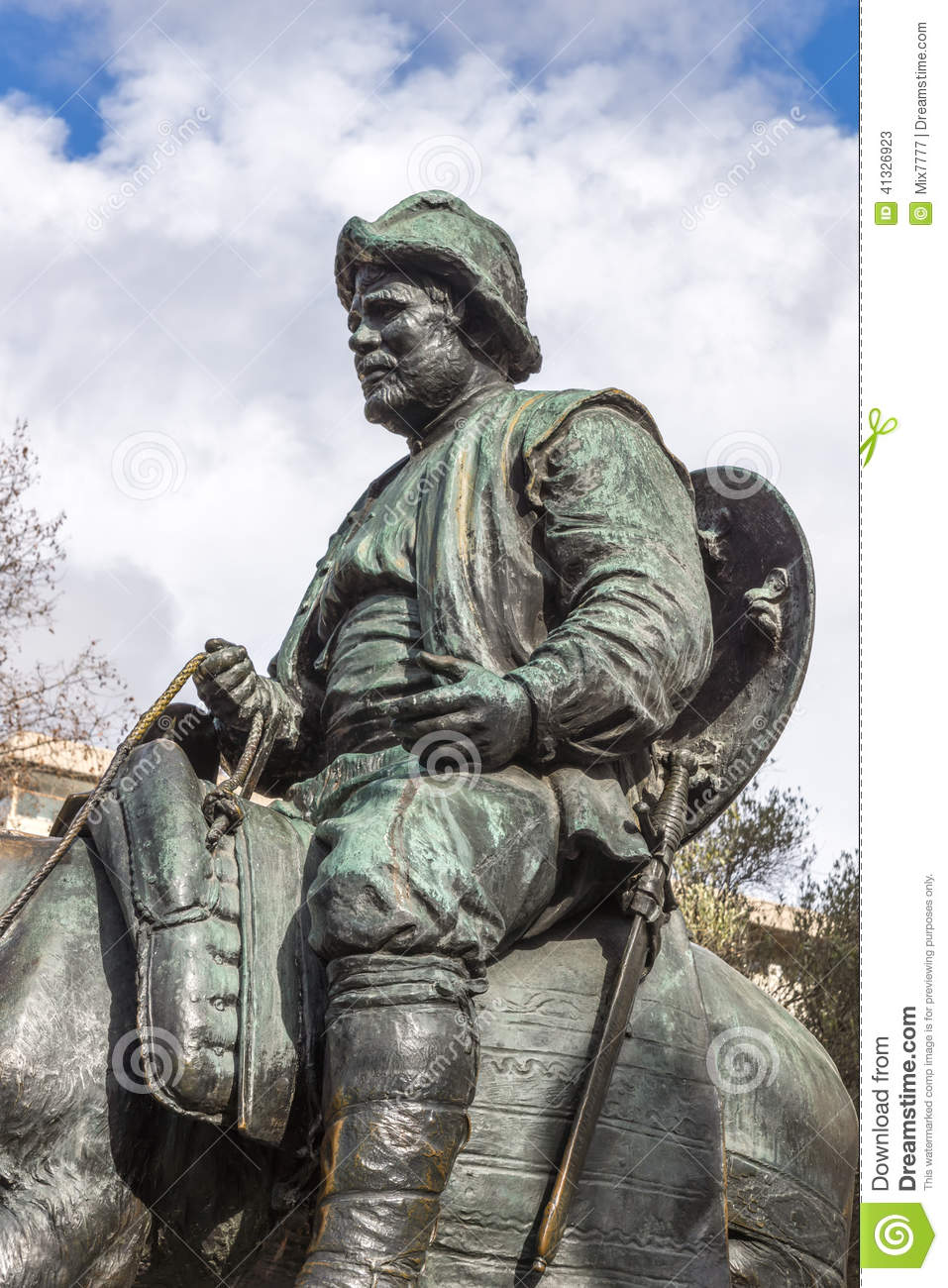 Stock Photo: Sancho Panza from monument to Cervantes and heroes of his