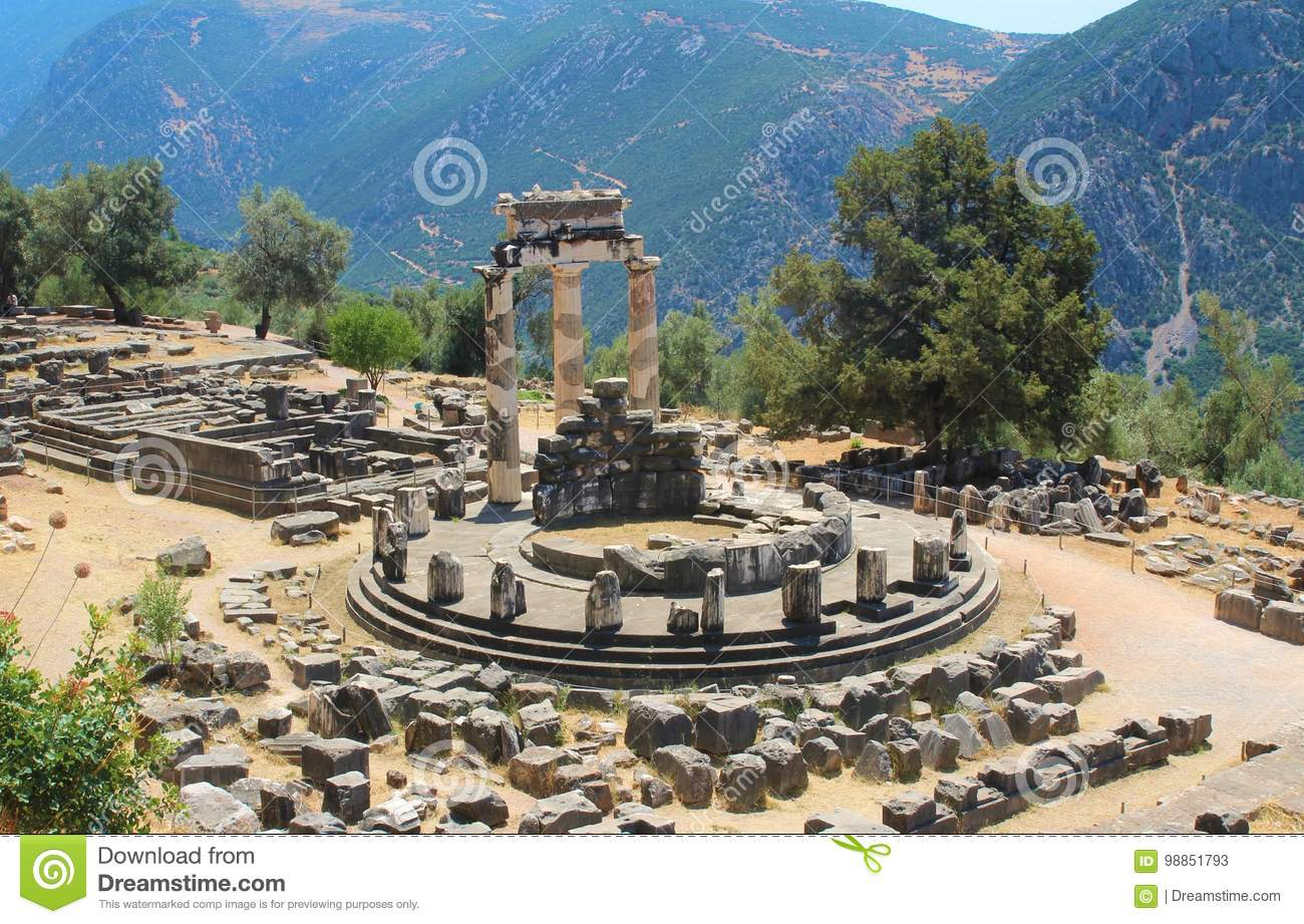 Sanctuary of Athena. Temple of Athena Pronaia, Delfi, Athens, Greece