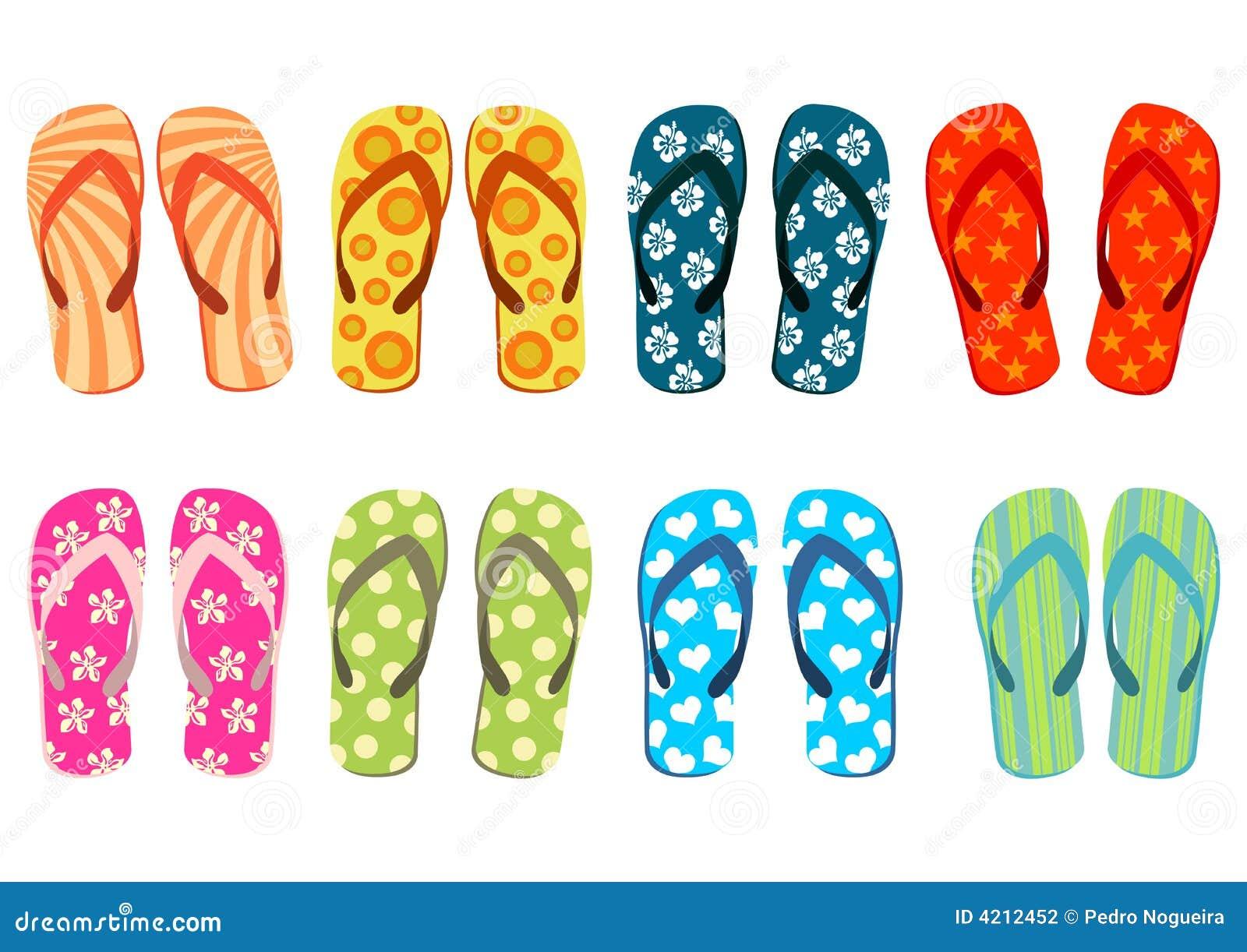 Sandálias da praia sobre o branco