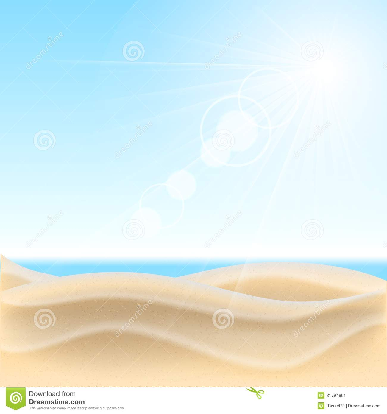 Sand Beach Background. Stock Vector. Illustration Of Cloud