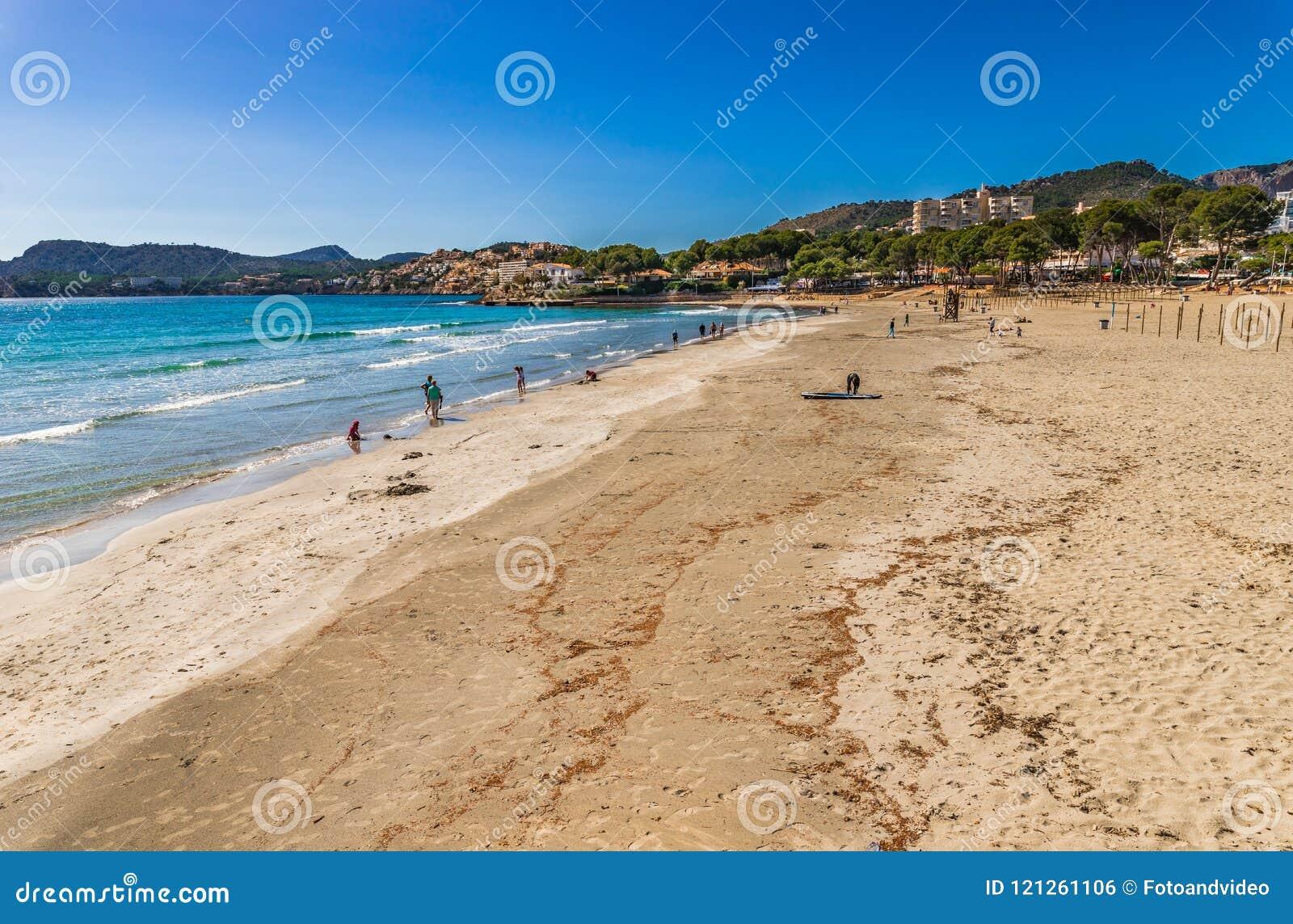 Seaside beach in Peguera on Mallorca island, Spain Mediterranean Sea