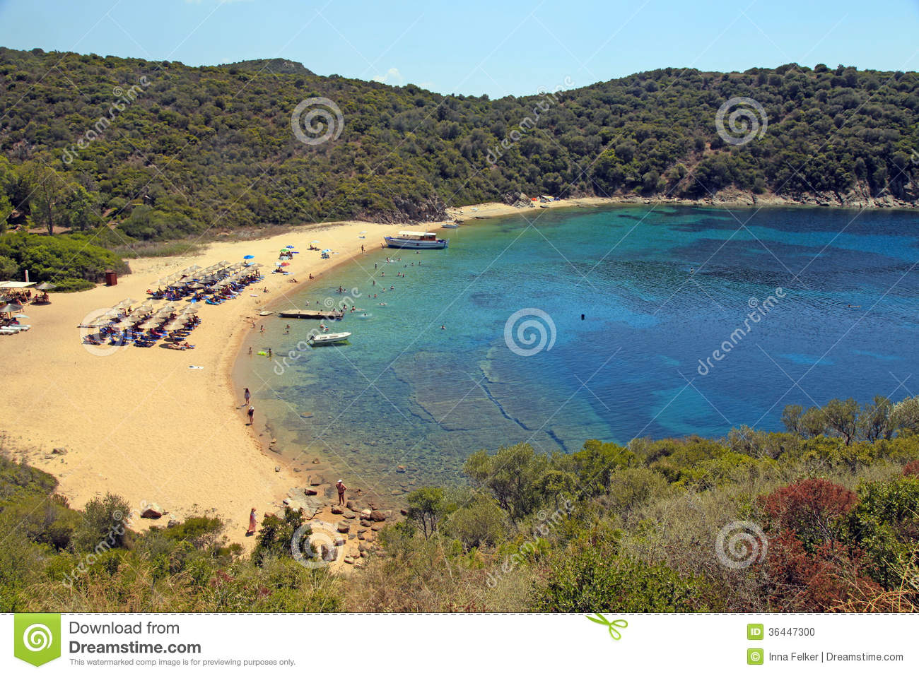 Sand Beach And Turquoise Sea Ammouliani Island Greece Stock Photo