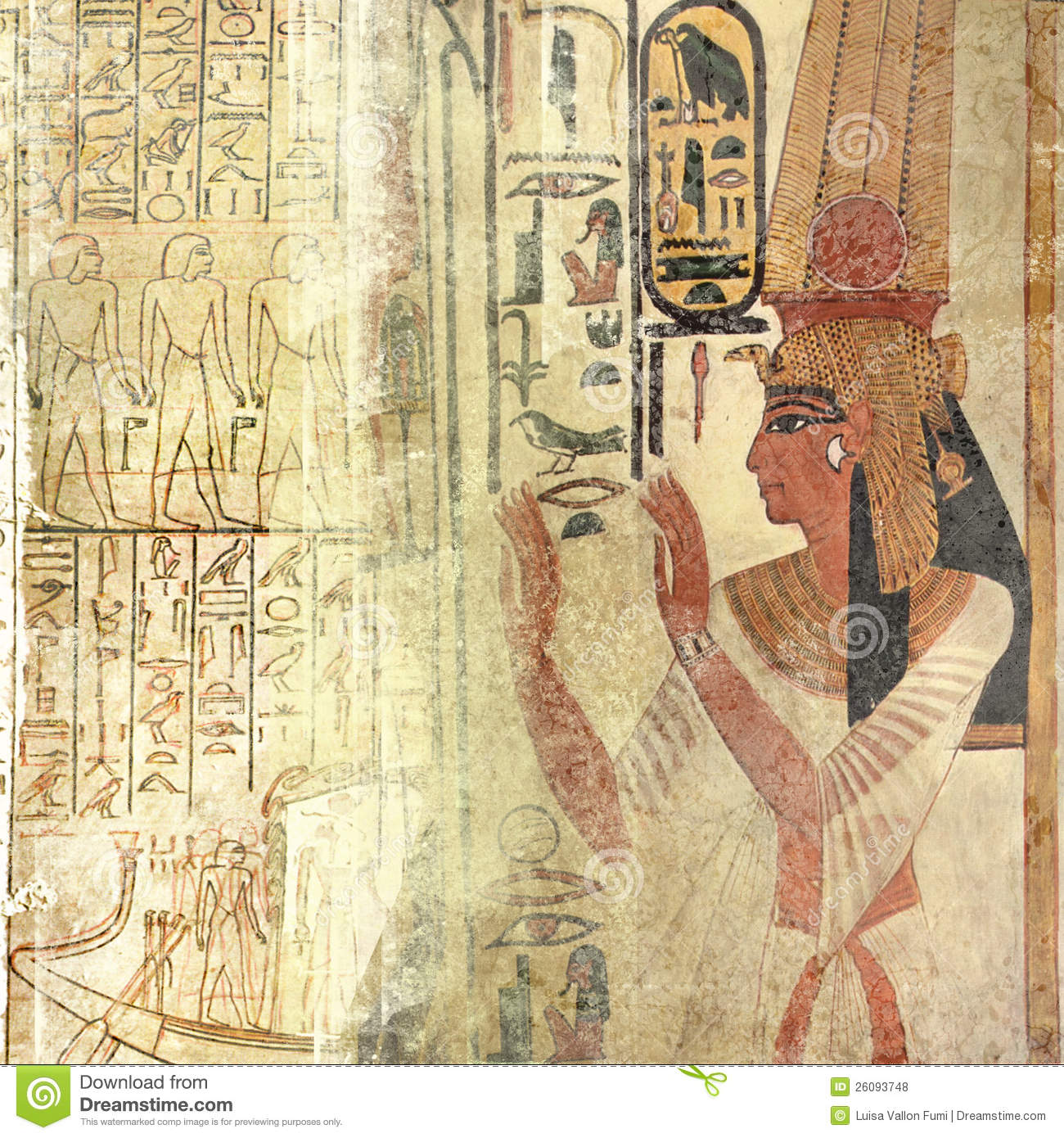 Sand Beige Egypt Texture With Queen Nefertiti And Royalty