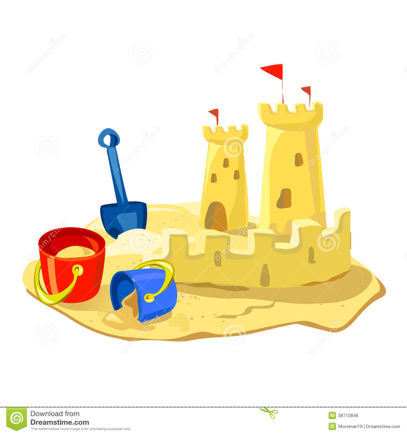 Sand Castle, Beach Toys Isolated Royalty Free Stock Image - Image ...