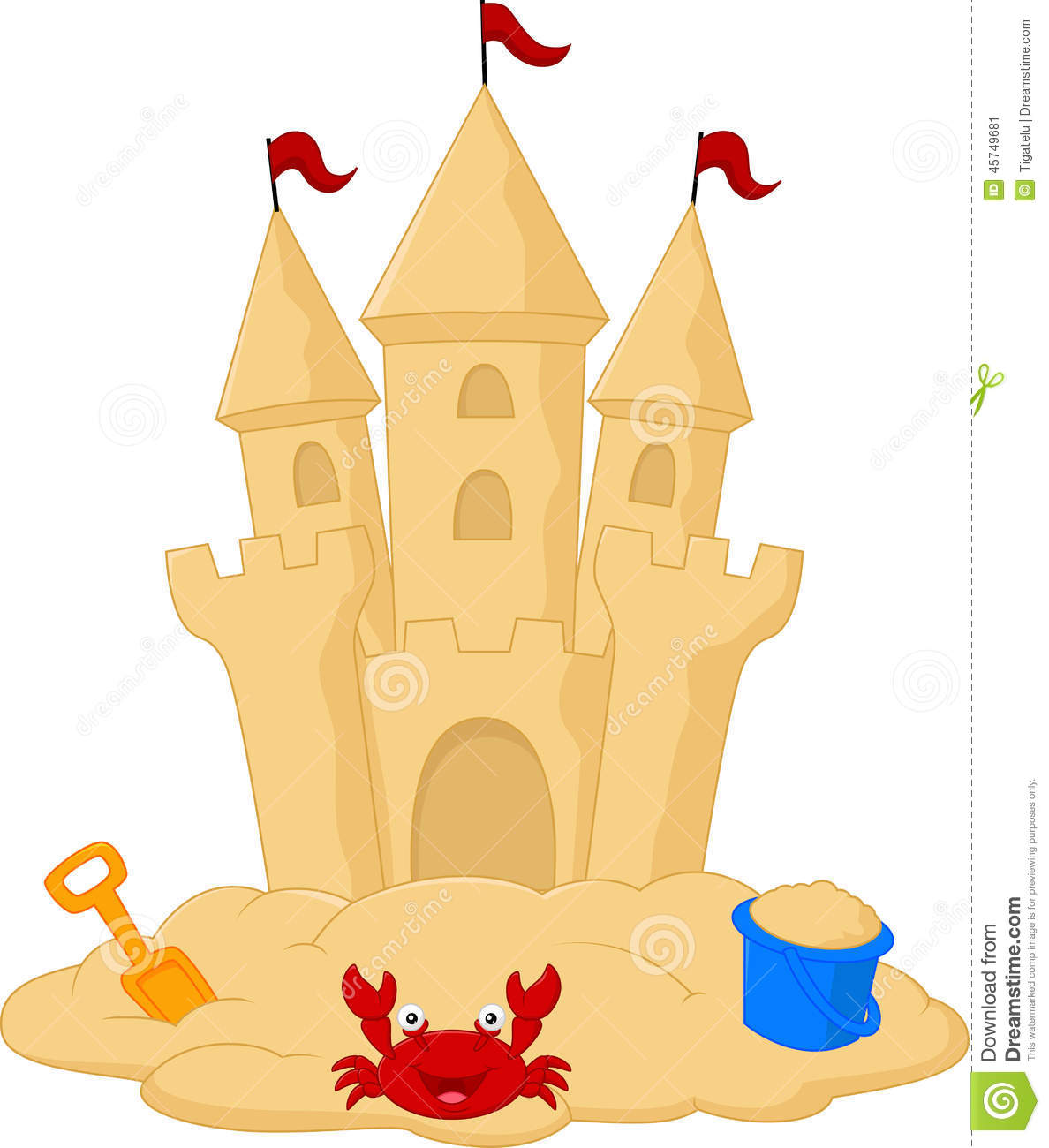 Sand Castle Cartoon Stock Vector Image 45749681