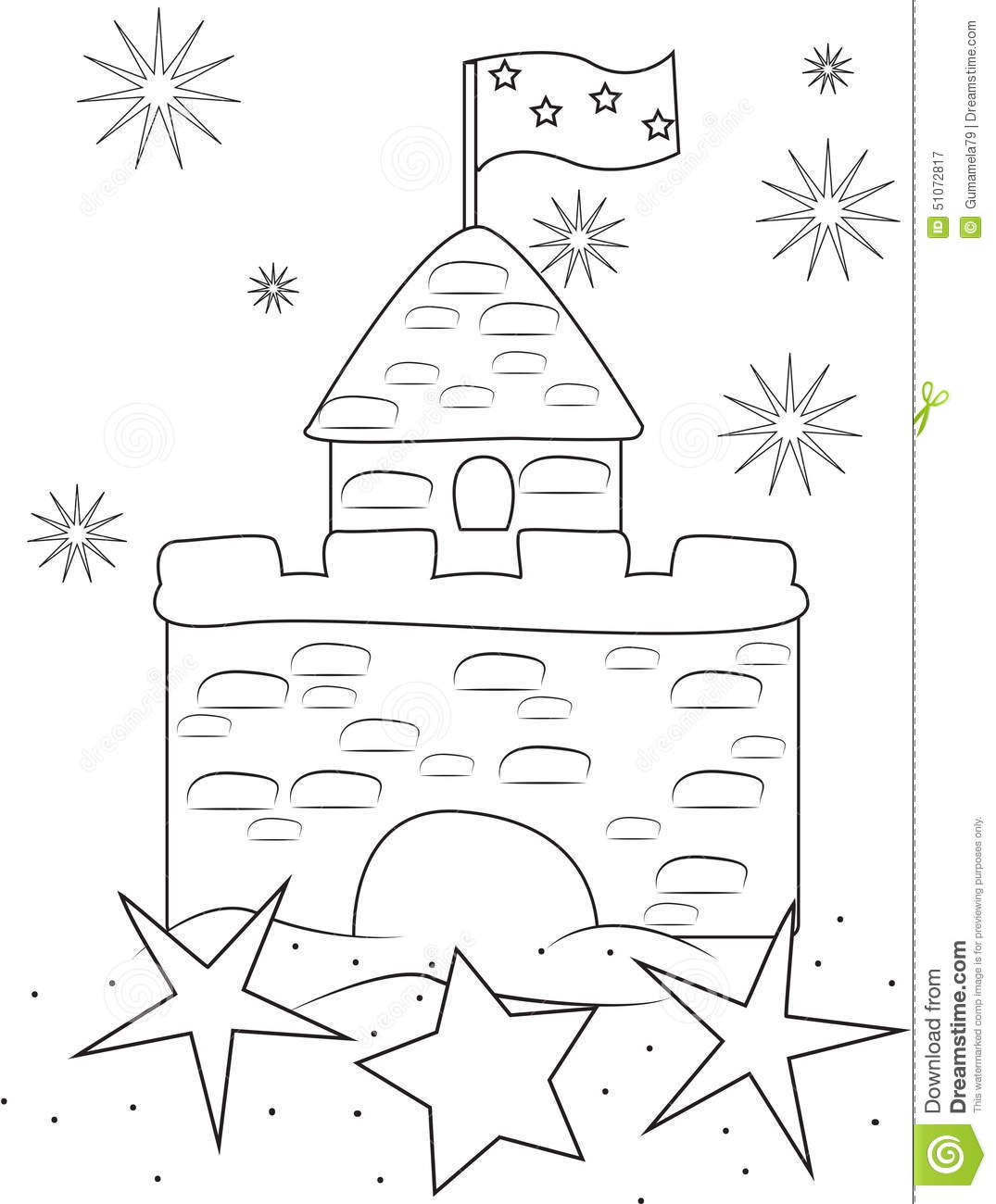 Sand castle coloring page stock illustration. Illustration of ...