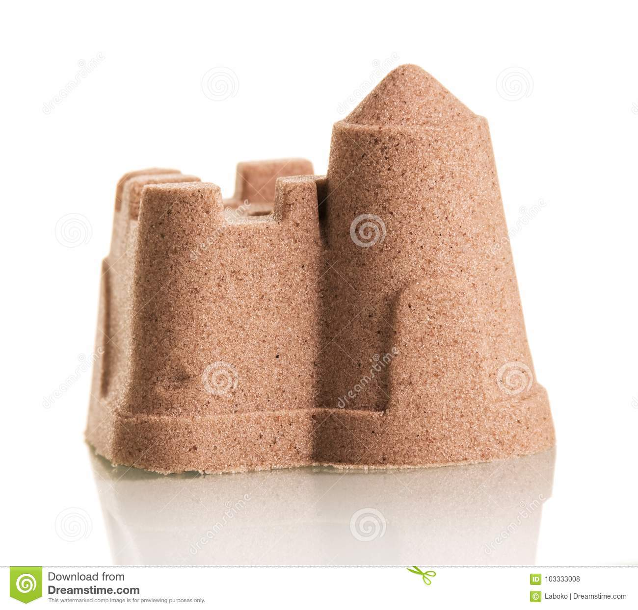 Sand castle isolated on white background.